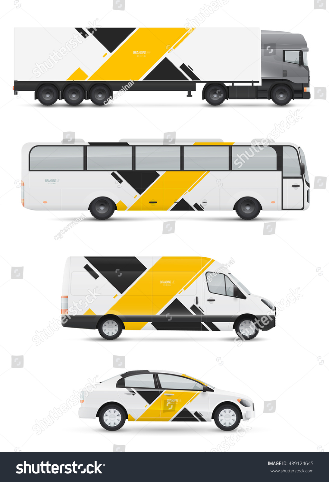 Branding design for transport Mockup of passenger car bus and van Templates vehicles for advertising and corporate identity Graphics elements with abstract modern geometric shapes