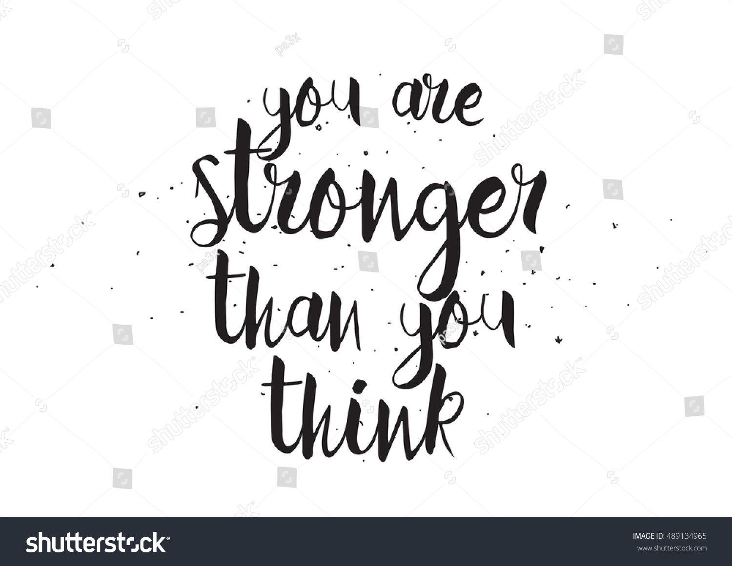 You are stronger than think inscription greeting card with calligraphy hand drawn design