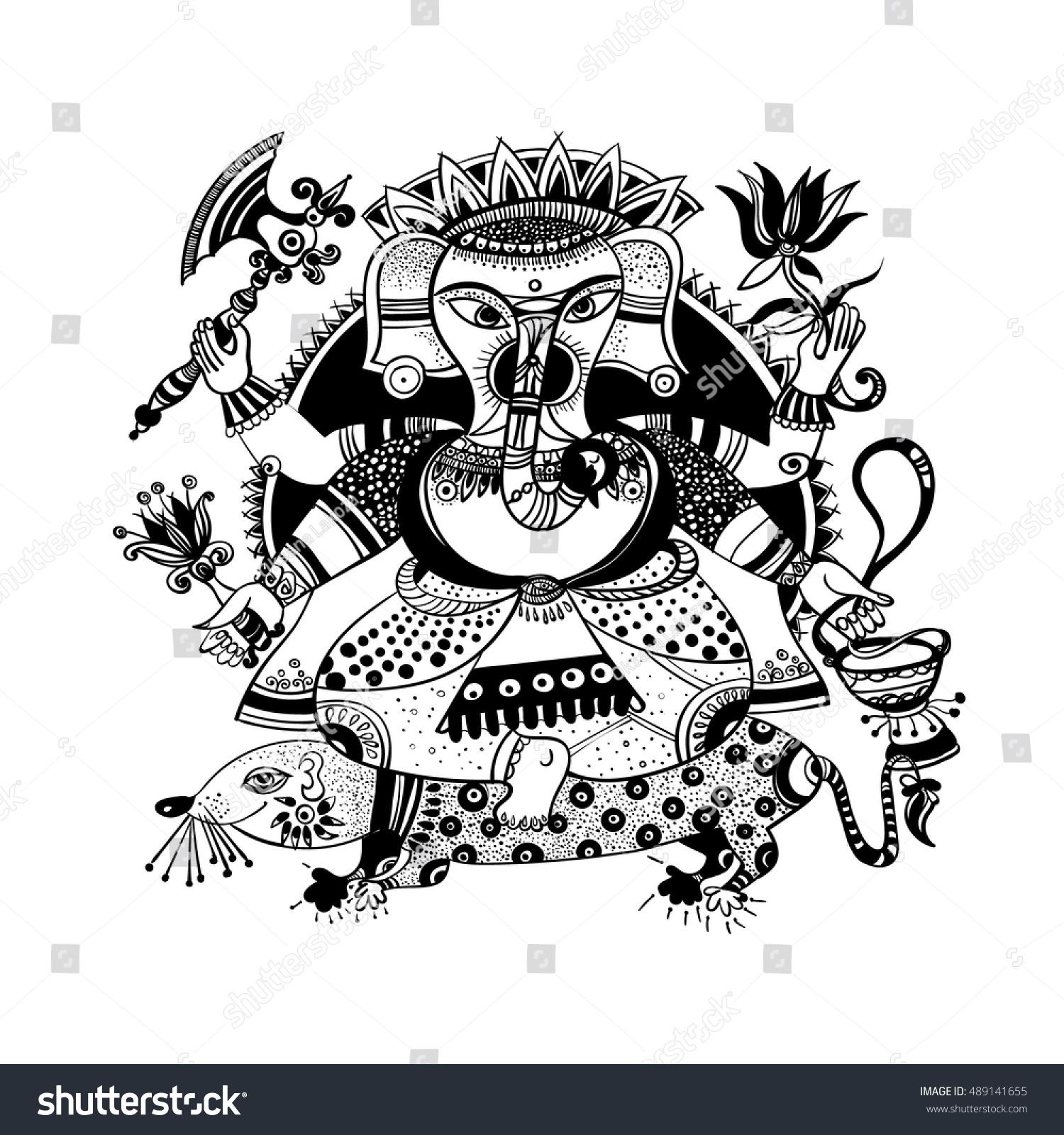 Cartoon Vector Elephant Head God Ganesha Stock Vector Royalty Free