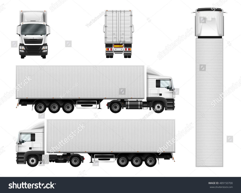 Truck Trailer Container Vector Template Car Stock Vector