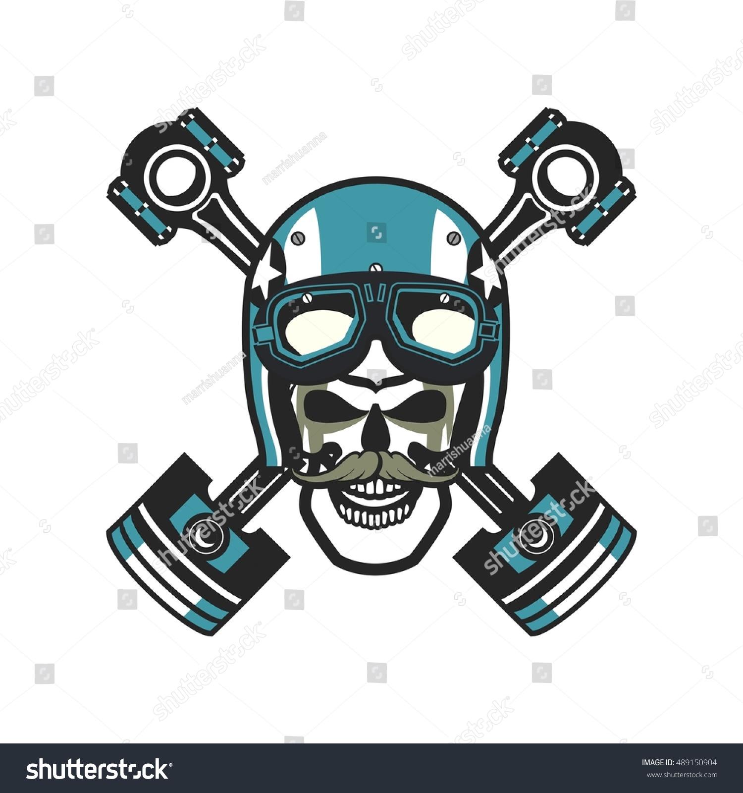 Vector skull emblem helmet pistons on stock vector 489150904