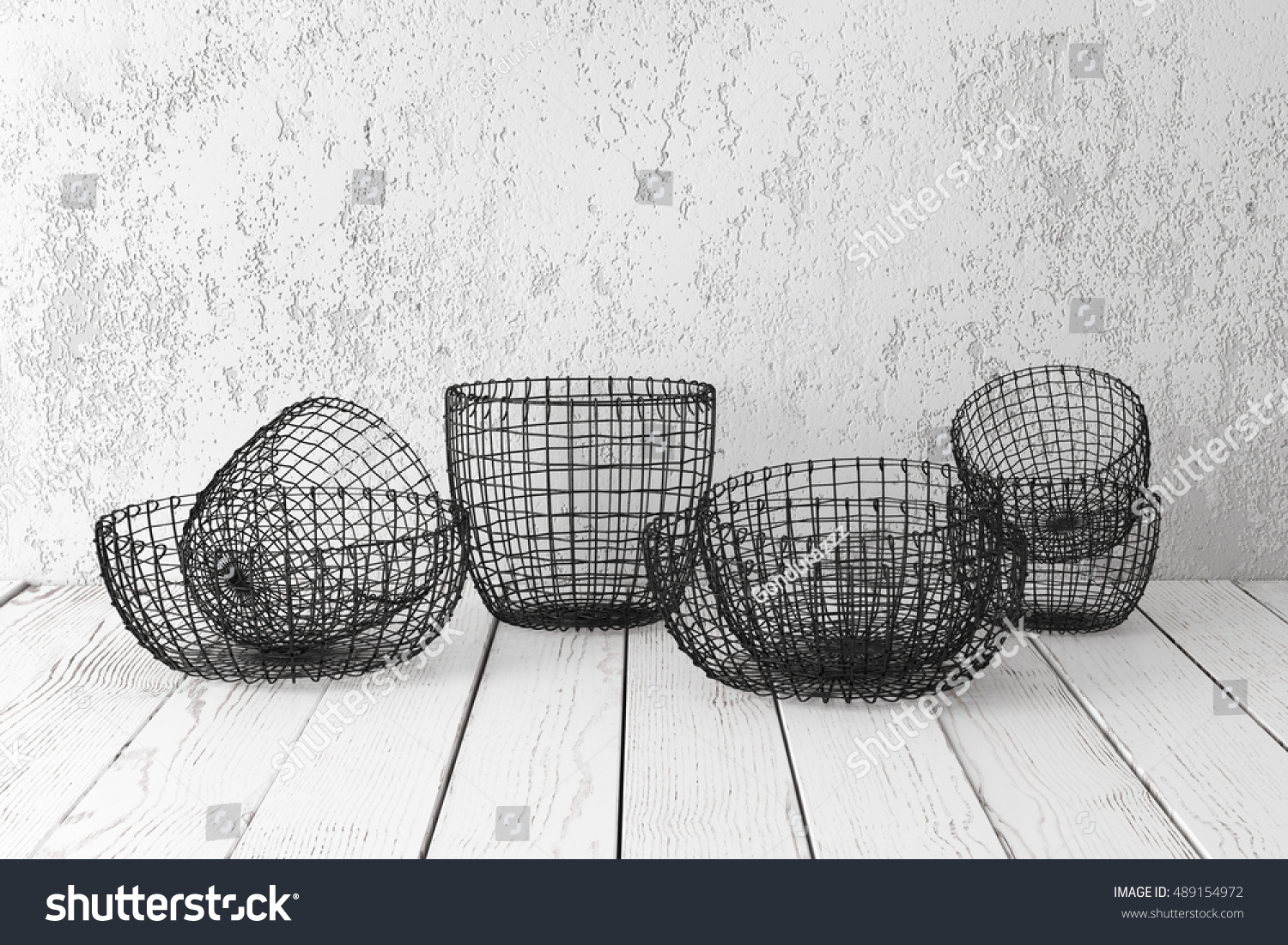 Vintage Wire Baskets On White Wooden Stock Photo (Royalty Free ...