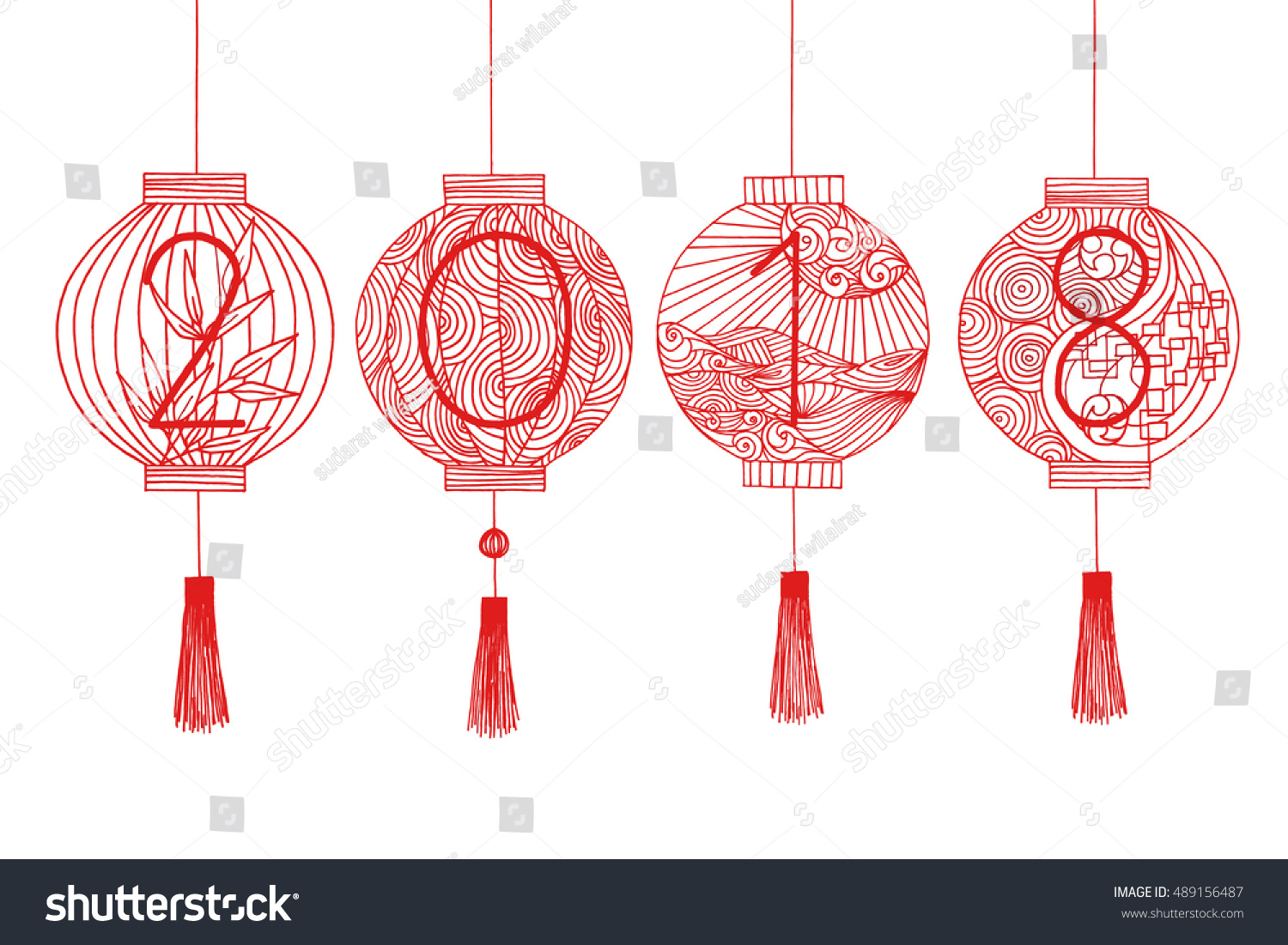 happy chinese new year 2018 hand drawing chinese or japanese lantern with line art pattern