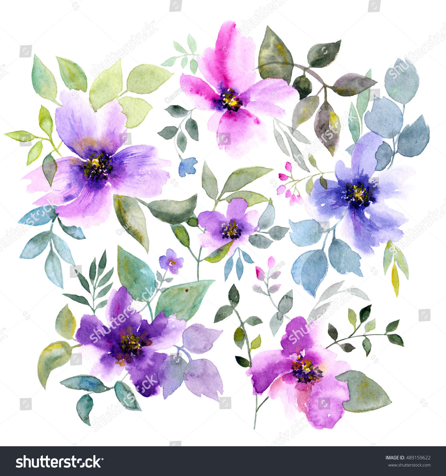 Greeting Card Flowers Watercolor Floral Bouquet Stock Illustration