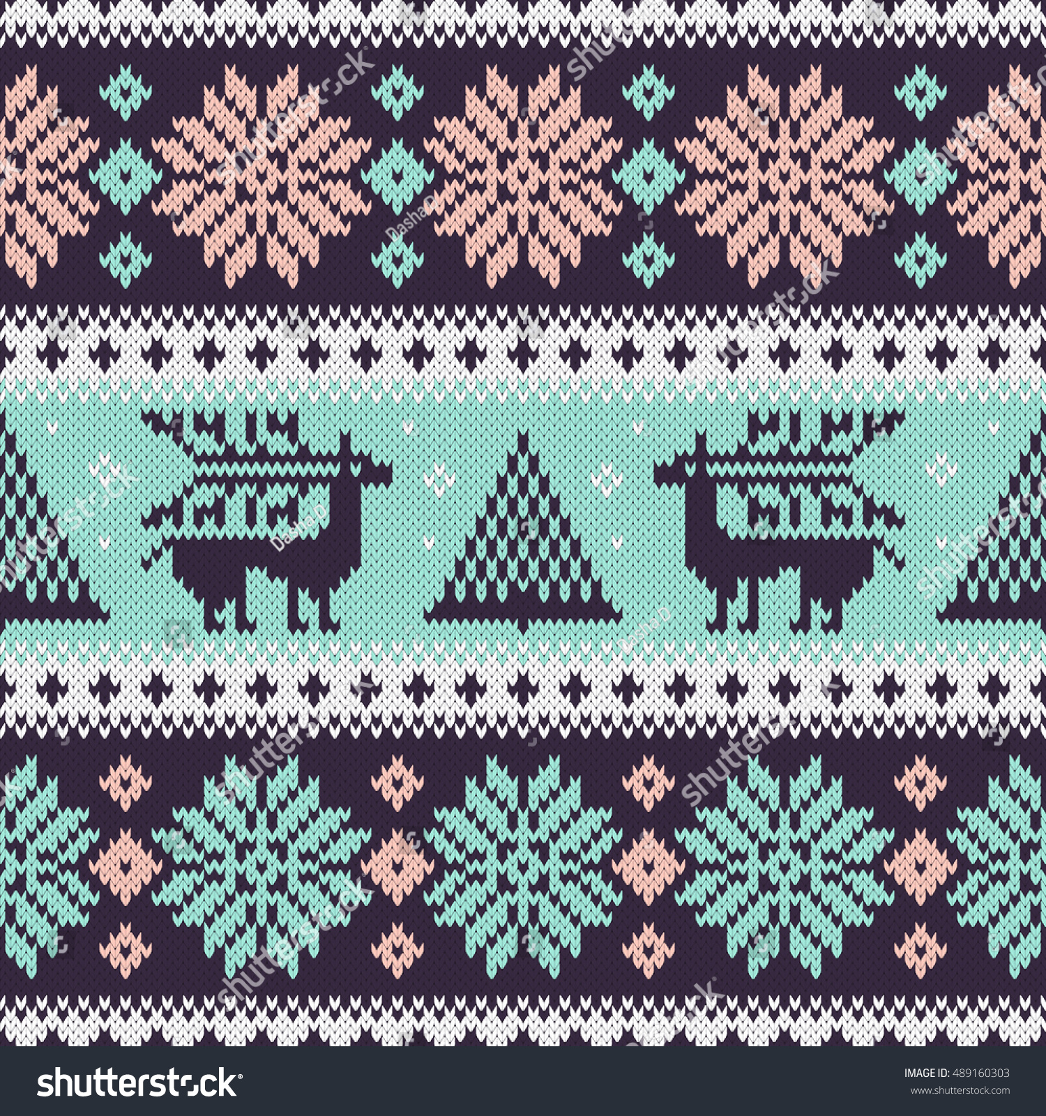 Seamless fir tree scandinavian pattern textile background wrapping - Seamless Knitting Pattern With Snowflakes Deer Fir And Other Winter Elements Colorful Christmas