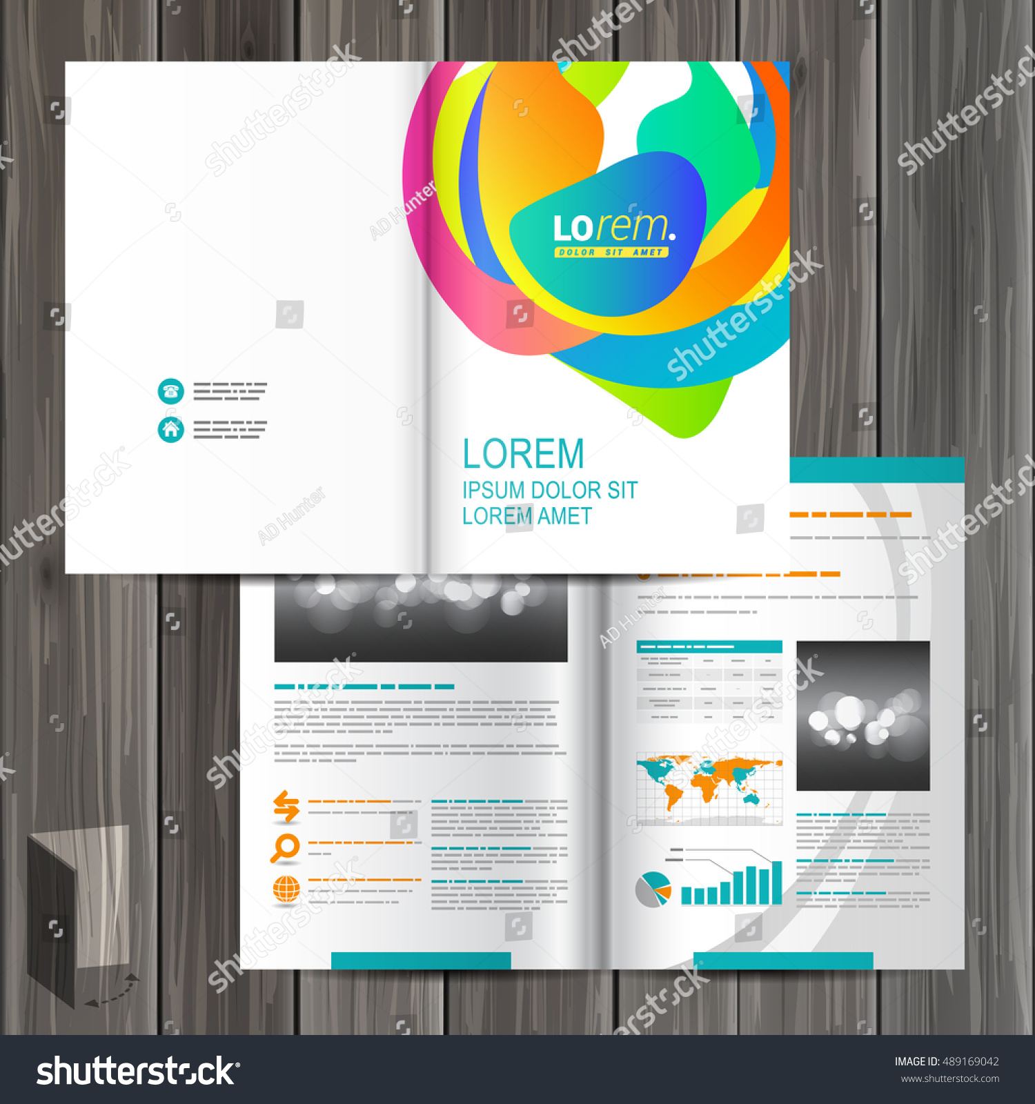 Creative White Brochure Template Design Color Stock Vector Royalty