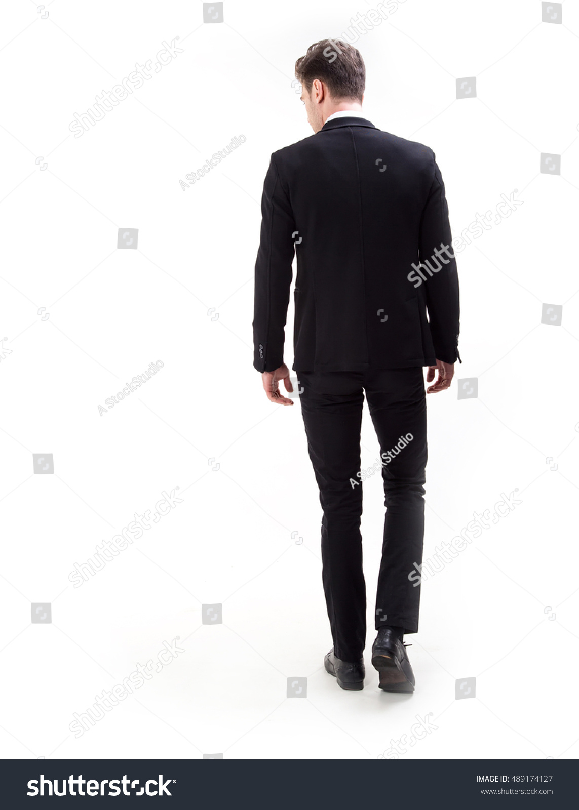 Young Stylish Man Suit Rear View Stock Photo 489174127 ...