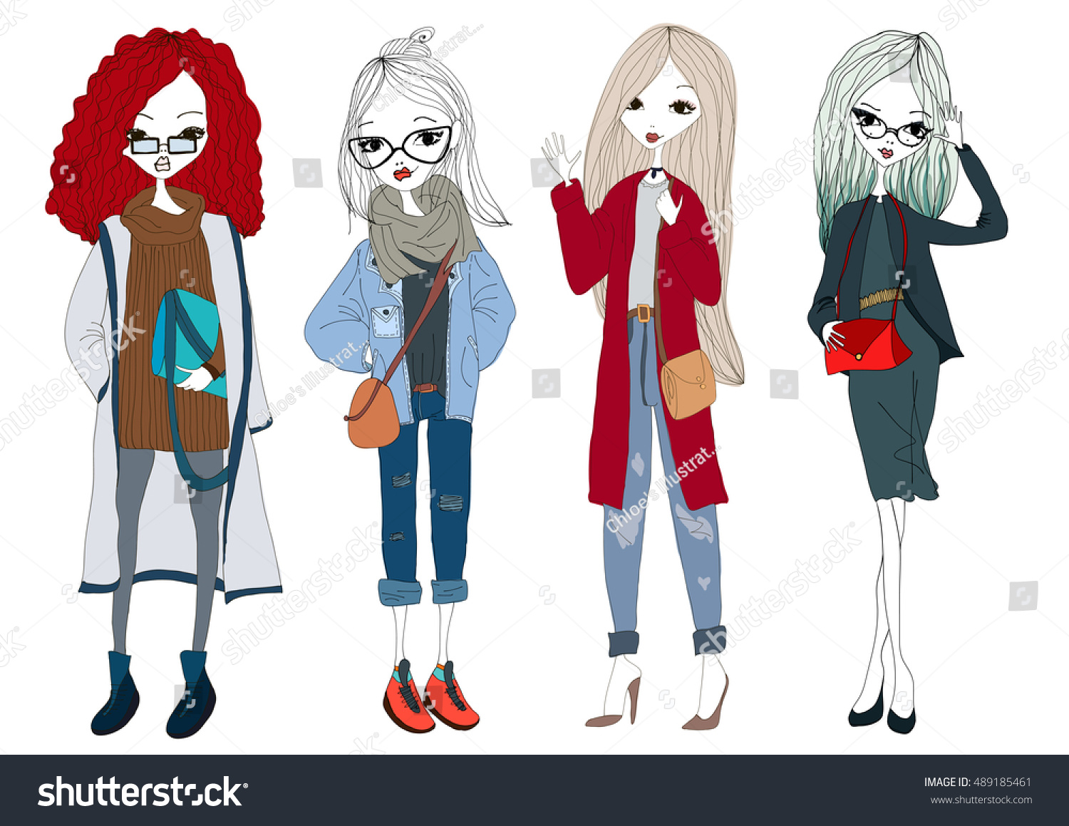 stock-vector-fashion-model-set-with-beau