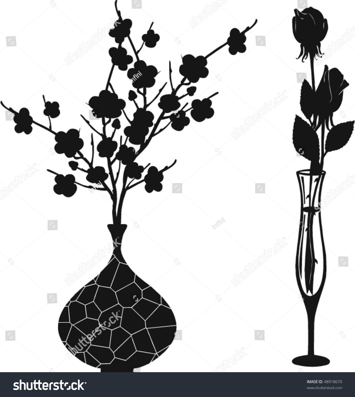 Black white floral vases silhouettes vector stock vector 48918670 black white floral vases silhouettes vector reviewsmspy