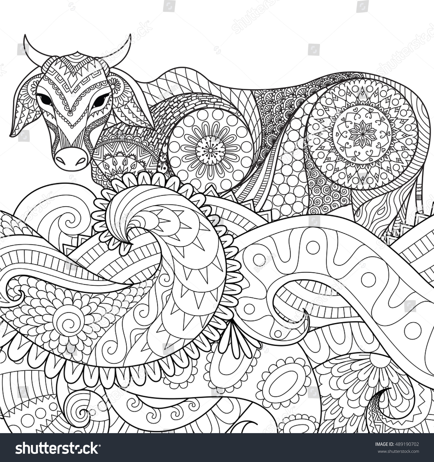 Zendoodle Design Of Cow Swimming In The Ocean For Adult Coloring Book Pages