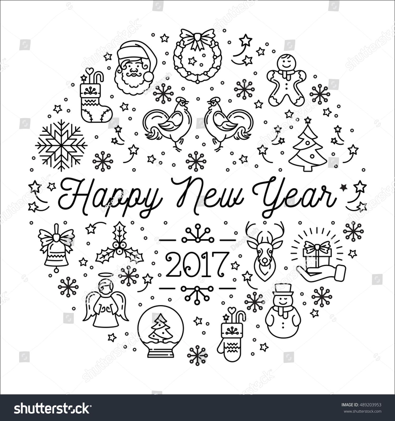 Line Art Design Trend : Happy new year design template stock vector