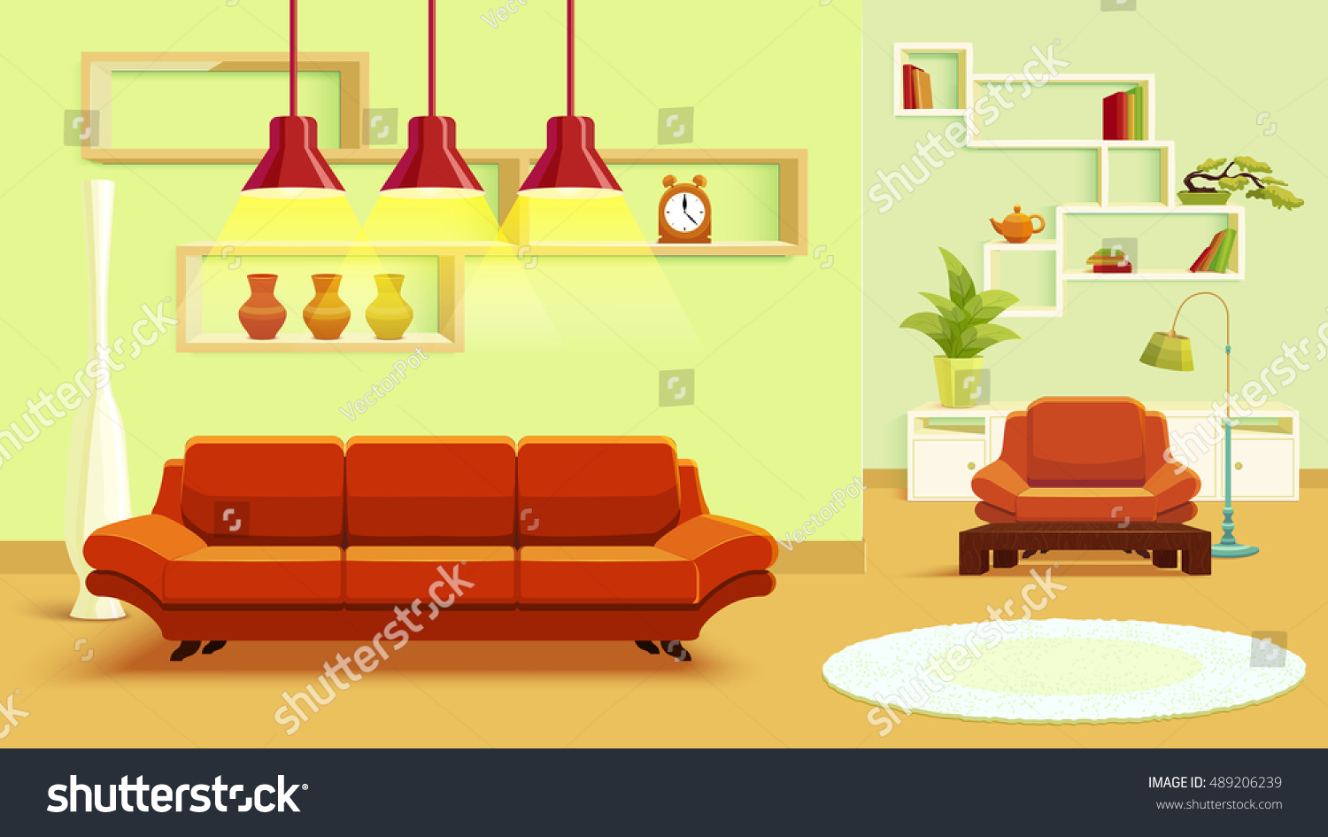 Living Room Interior Design In Beige Green Color With Red Soft Furniture And Light Carpet Vector