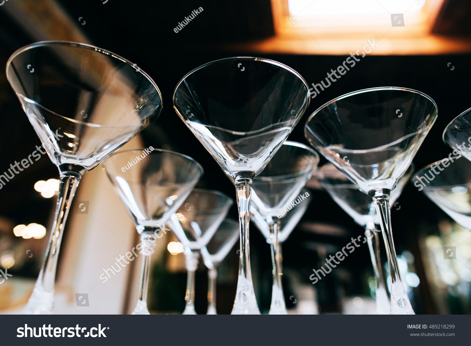 Empty Martini Glasses Closeup Wedding Reception Stock Photo Royalty