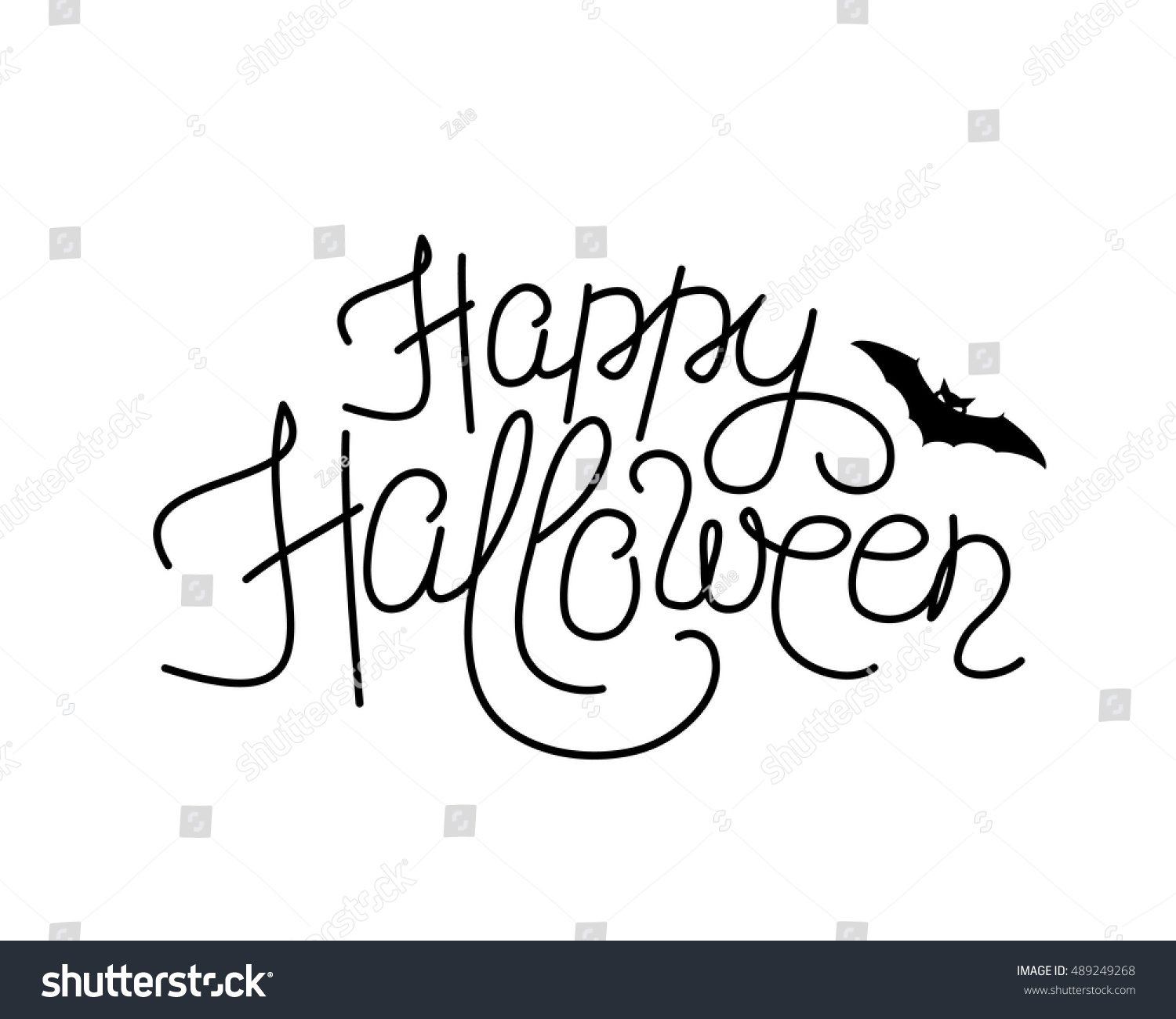 Vector Illustration Happy Halloween Lettering Sign Stock