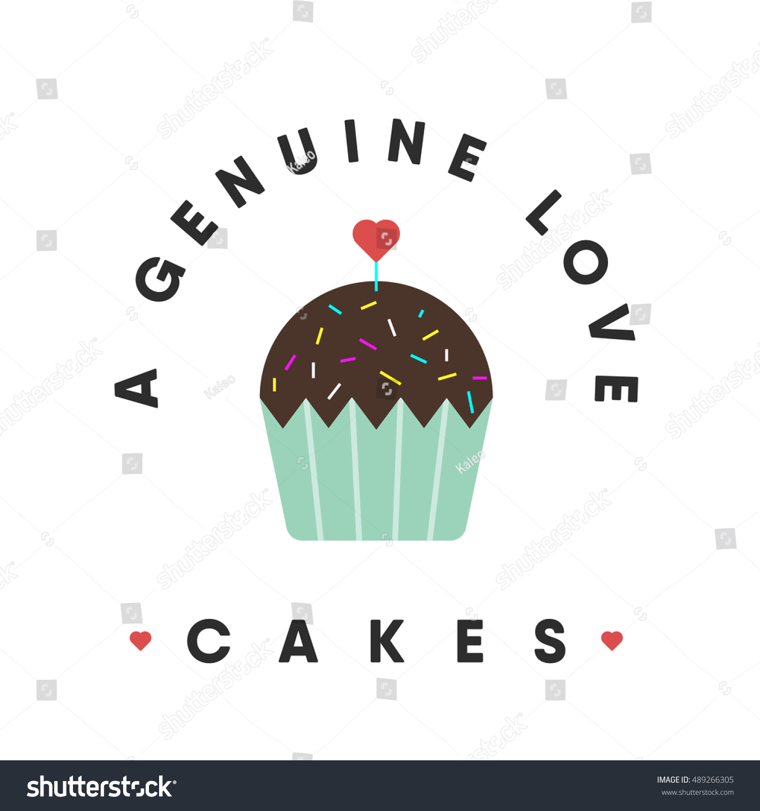 Cake Love Is A Genuine Cupcake Icon Concept With Heart Vector Illustration