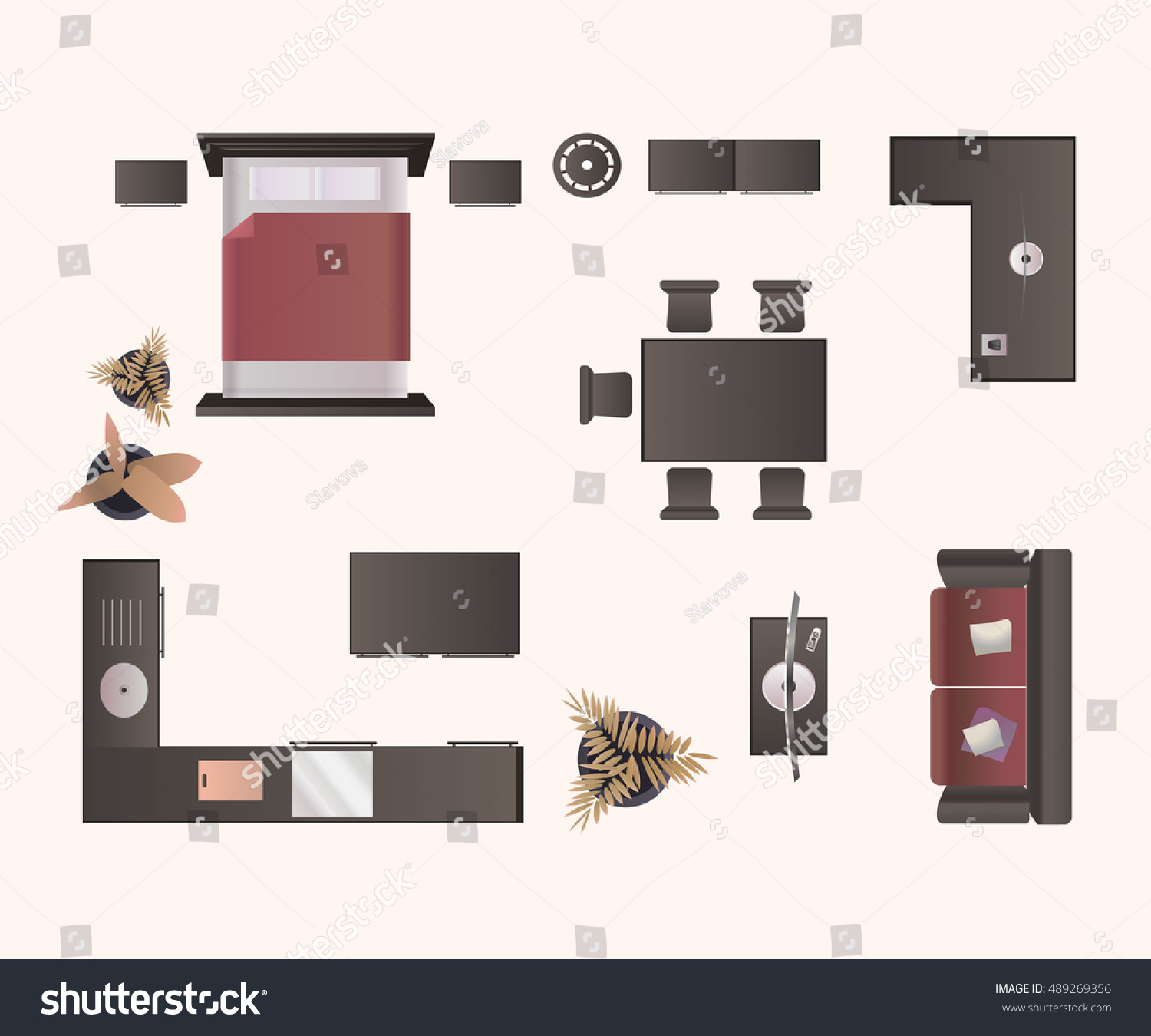 Modern Furniture Isolated On White Background Stock Vector ... for Modern Furniture Top View  56mzq