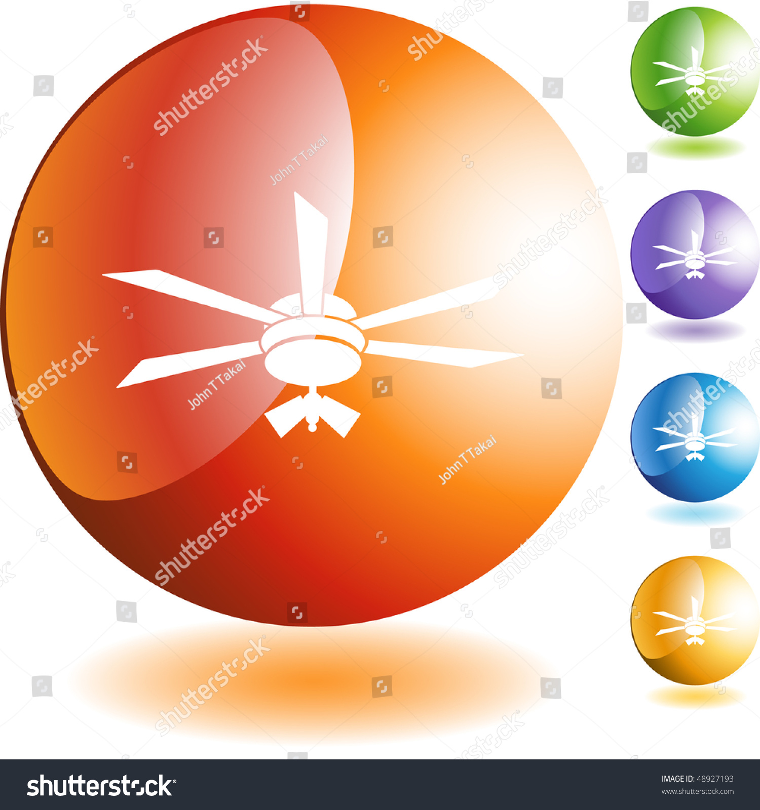 Ceiling Fan Web Button Isolated Stock Vector