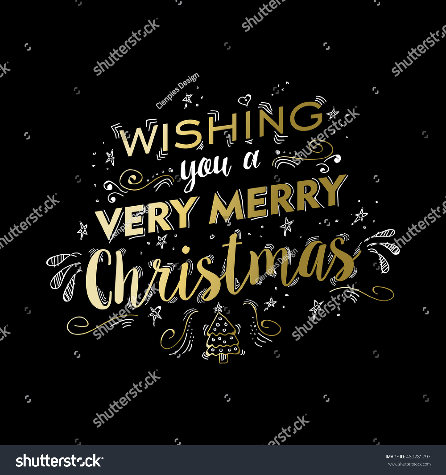 Merry Christmas Gold Luxury Lettering Design Stock Vector Royalty