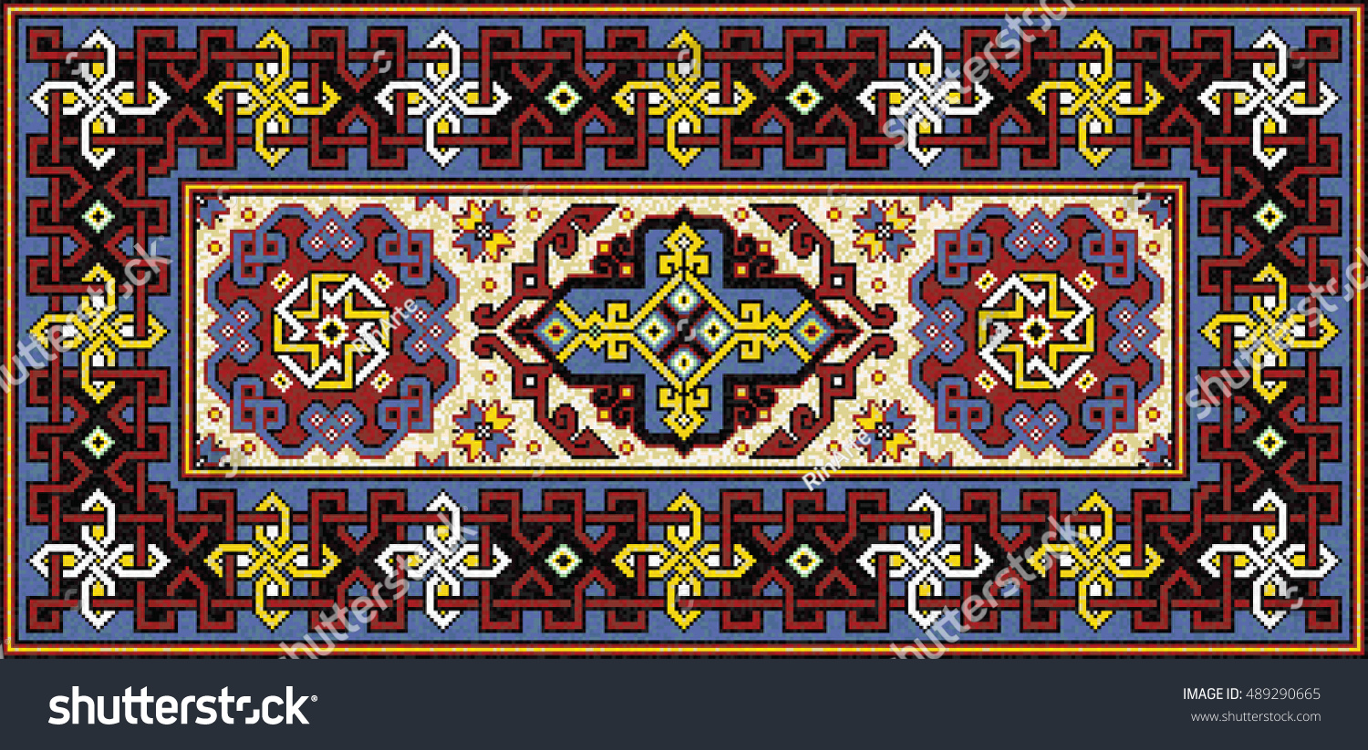 colorful mosaic rug with traditional celtic ornament carpet border frame pattern vector 10 eps