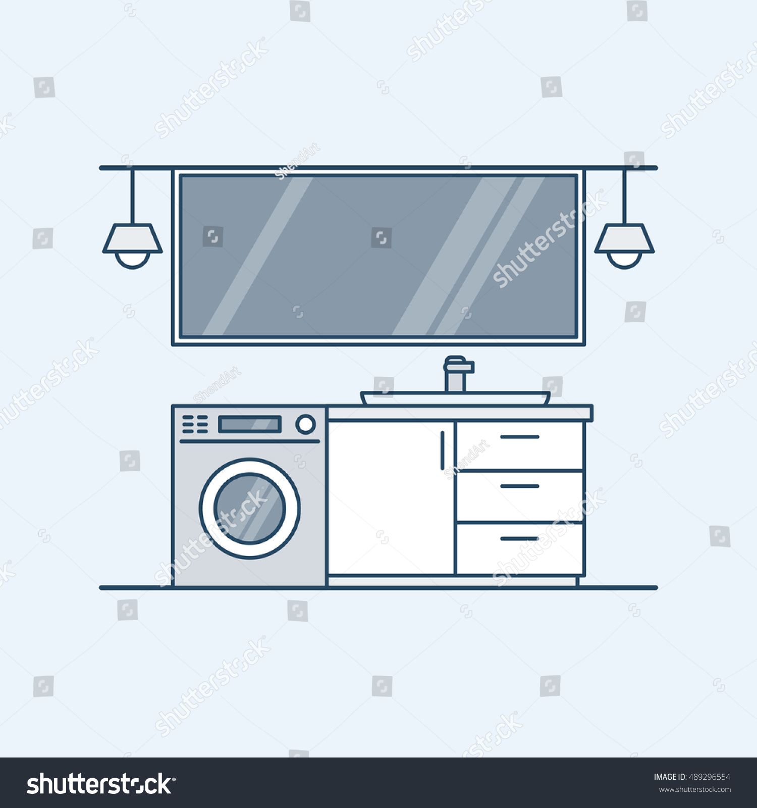 Kitchen interior in flat and line style. | EZ Canvas