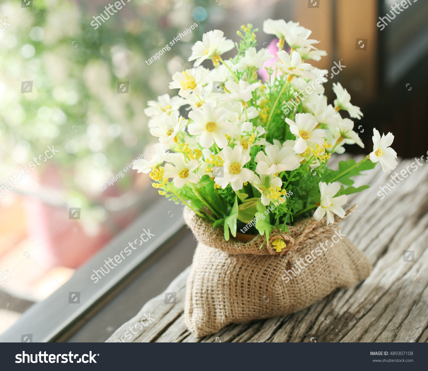 Beautiful Artificial Flowers Made Cloth Sitting Stock Photo Royalty