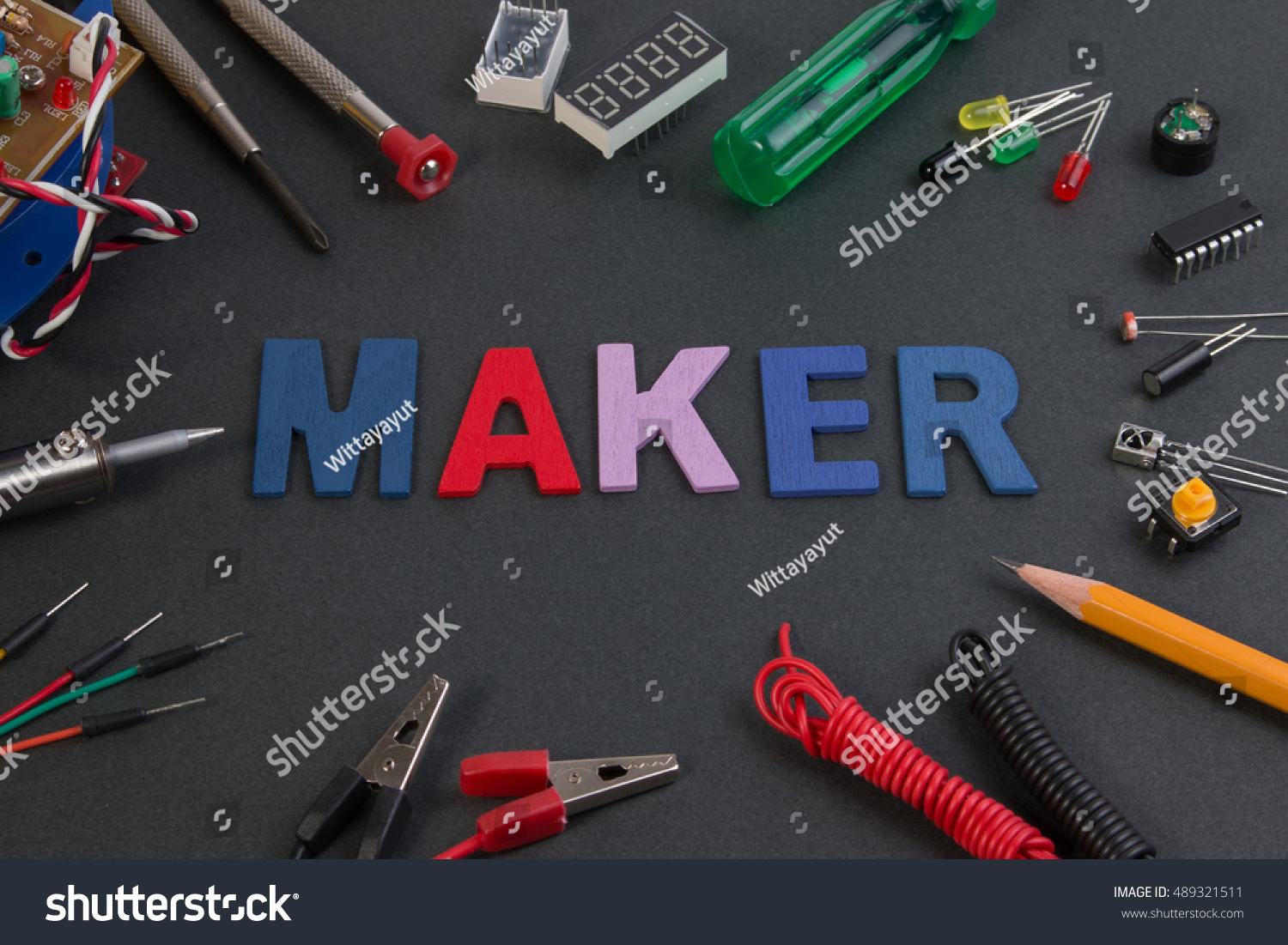 Particle Maker Kit Electronics Project Stock Photo Edit Now Circuits Kits On Black Table
