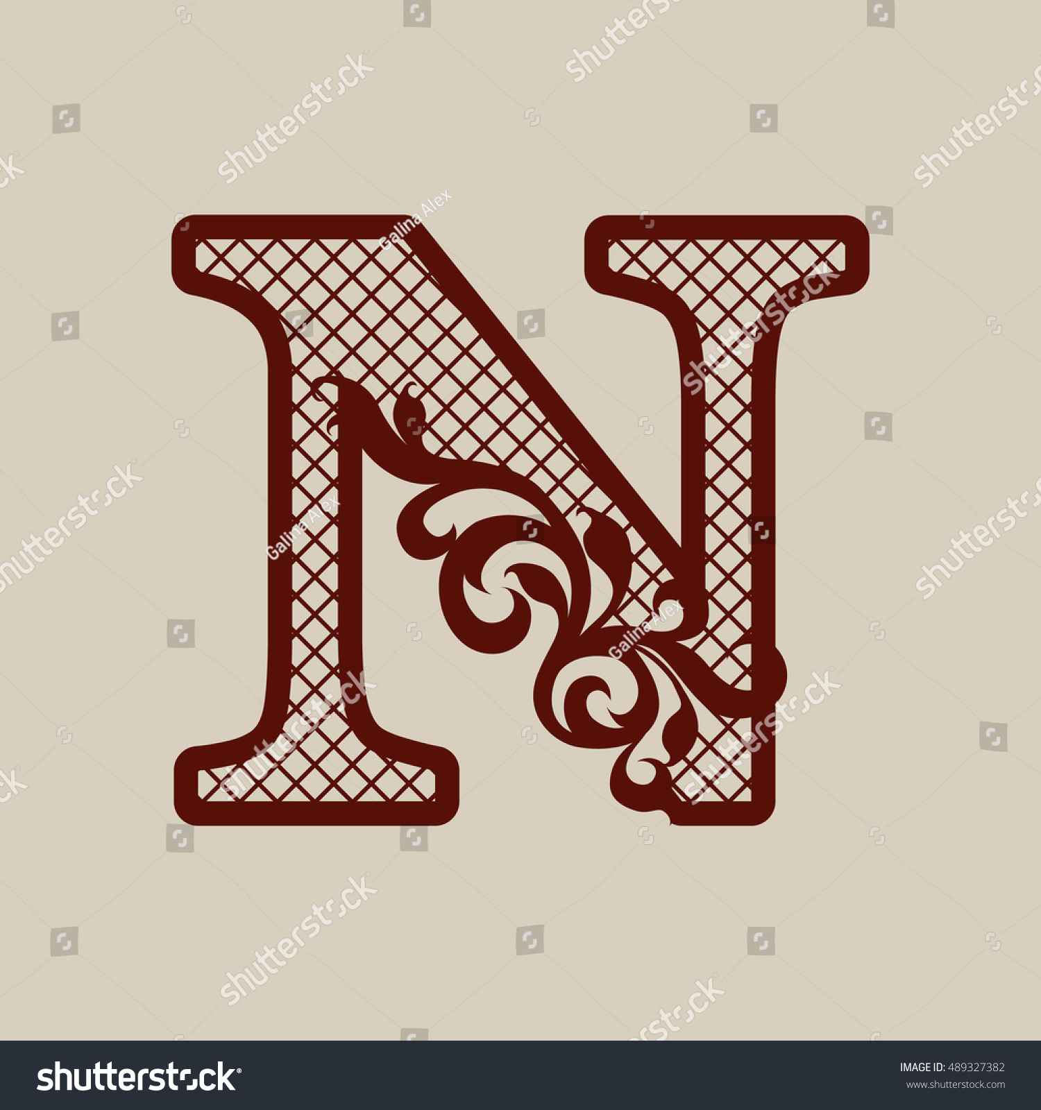 Initial Letter N Elegant Monogram Carved Stock Vector (Royalty Free ...
