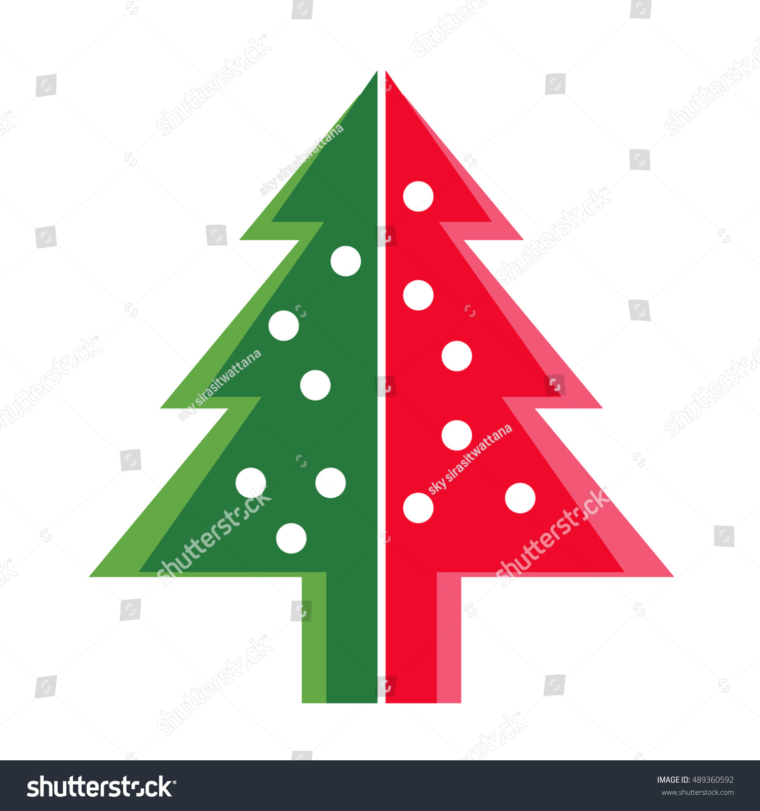Simple Green Color Christmas Trees New Stock Vector 489360592 ...