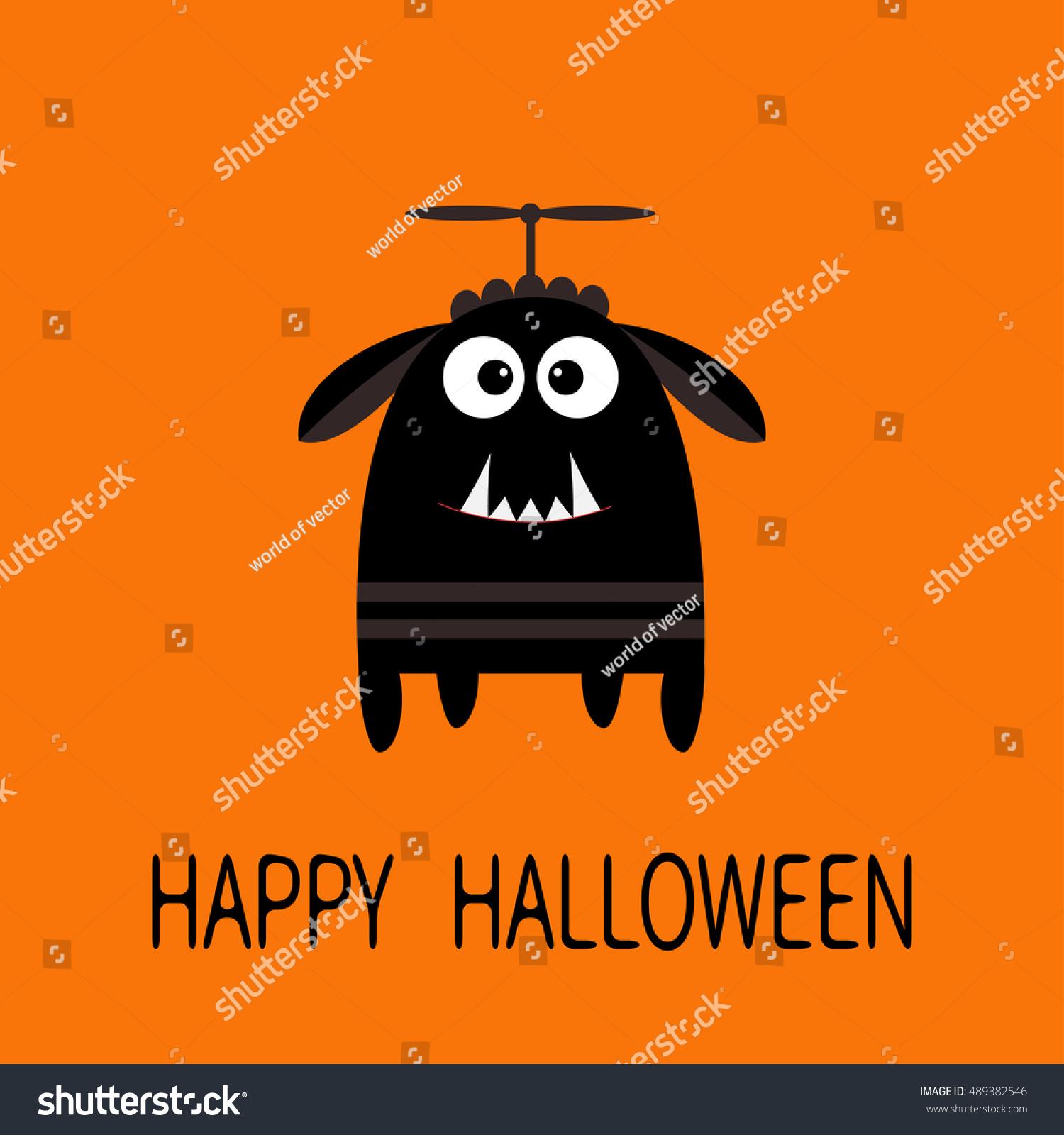 Happy Halloween Greeting Card Black Silhouette Stock Vector