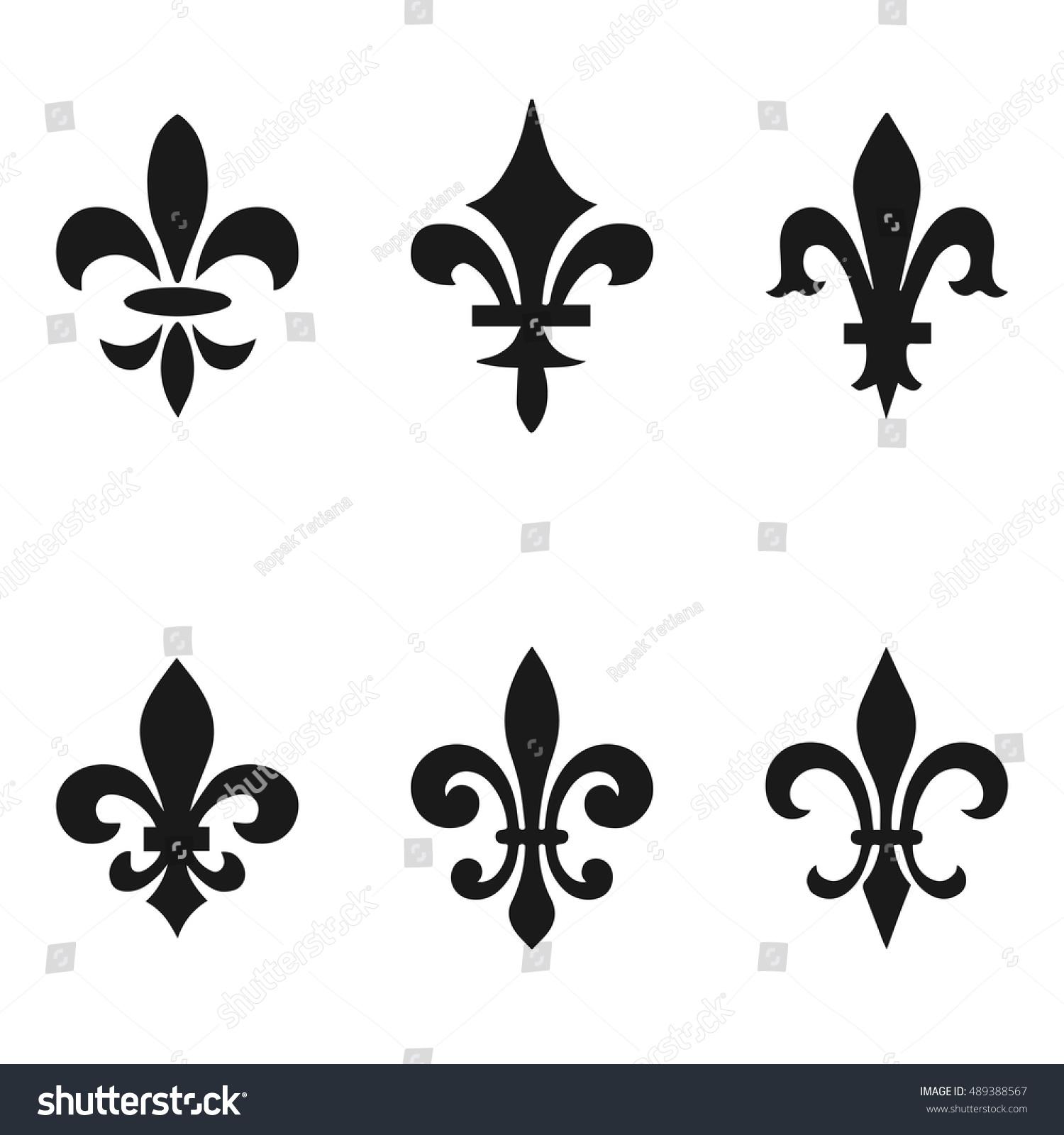 Collection Fleur De Lis Symbols Black Stock Vector Royalty Free