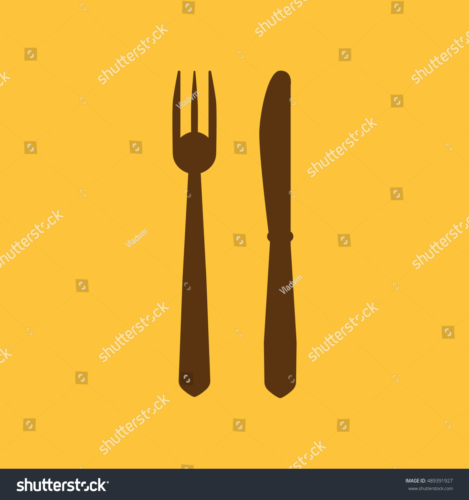 Knife Fork Icon Knife Fork Symbol Stock Illustration 489391927