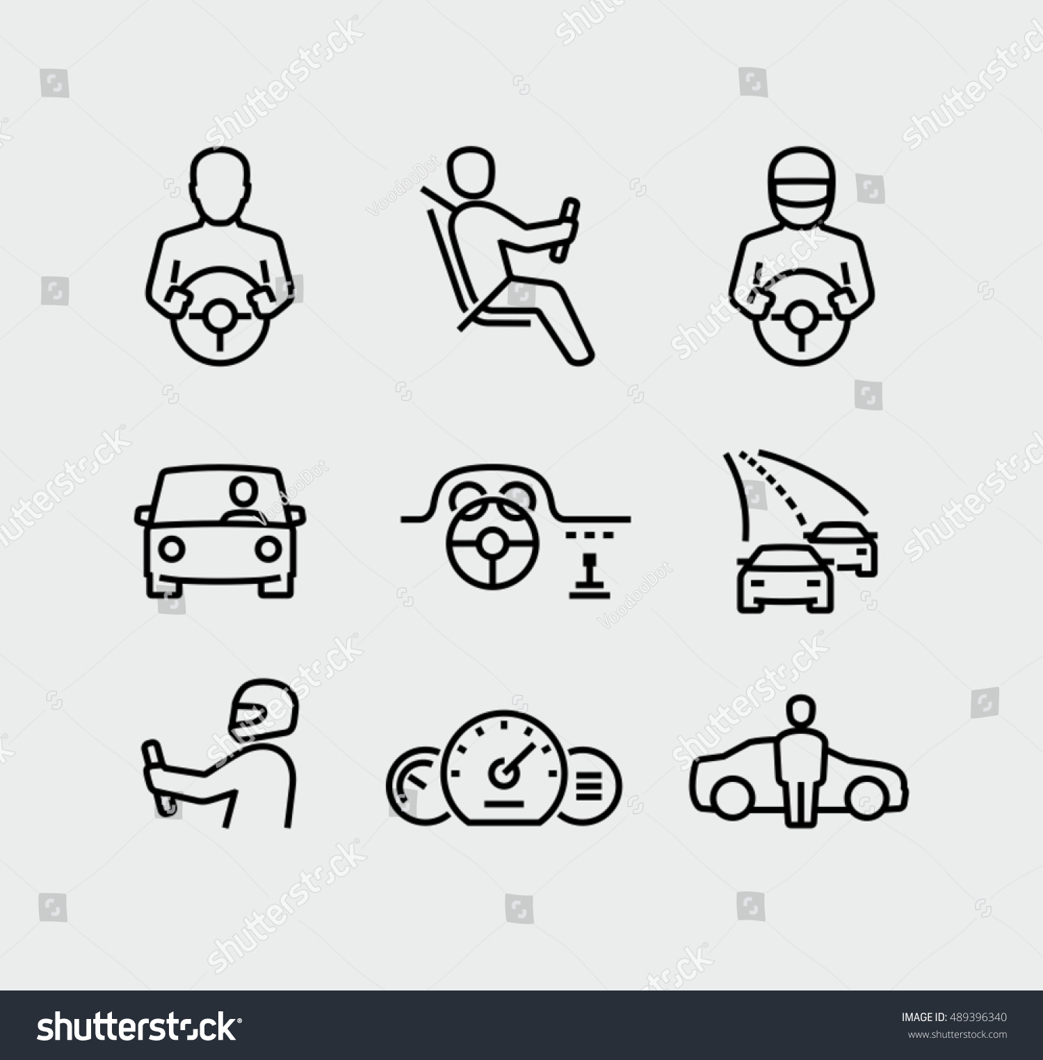 Man Driving Car Vector Icons