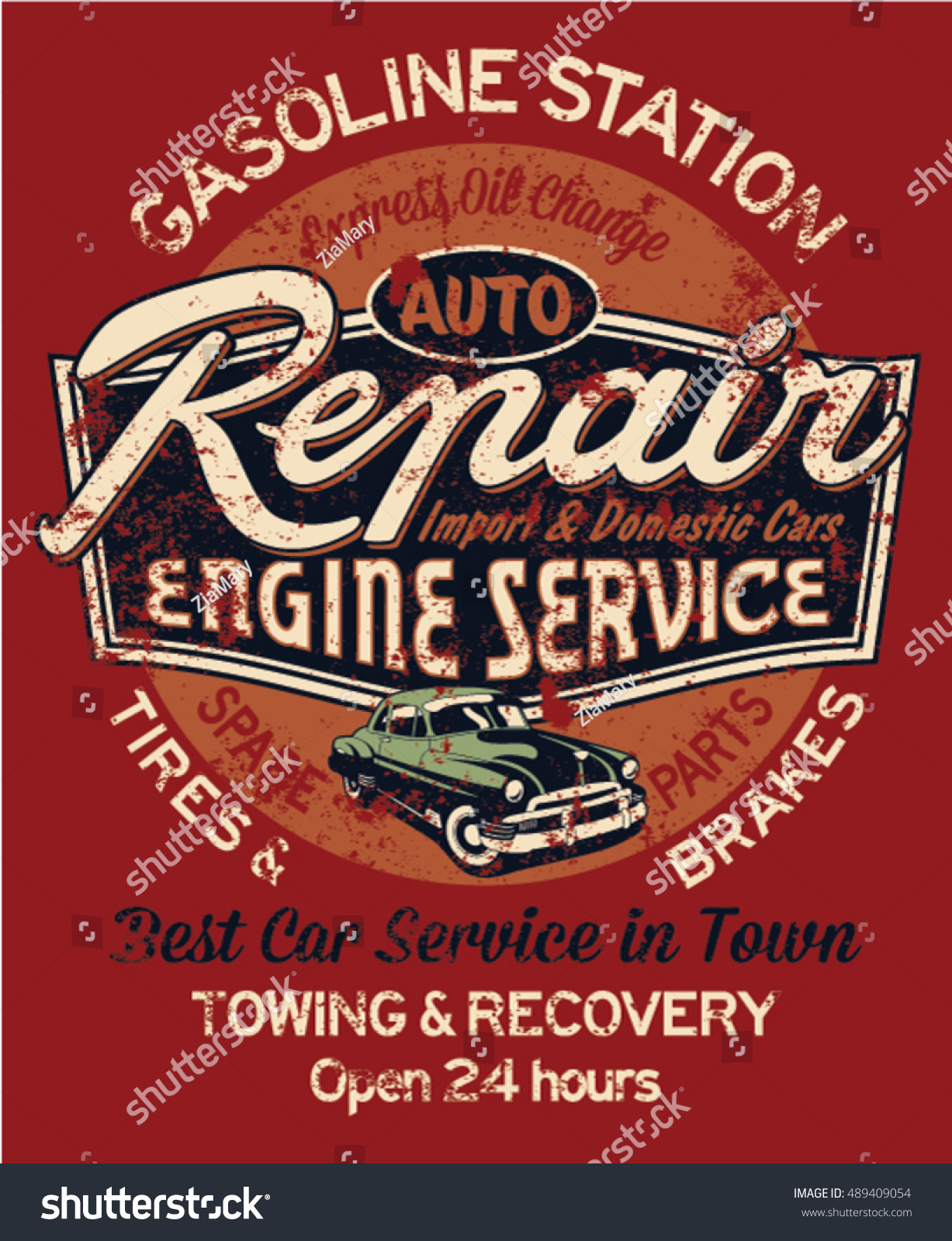 Car Garage Repair Service, Print For T Shirt In Custom Colors, Grunge  Effect In