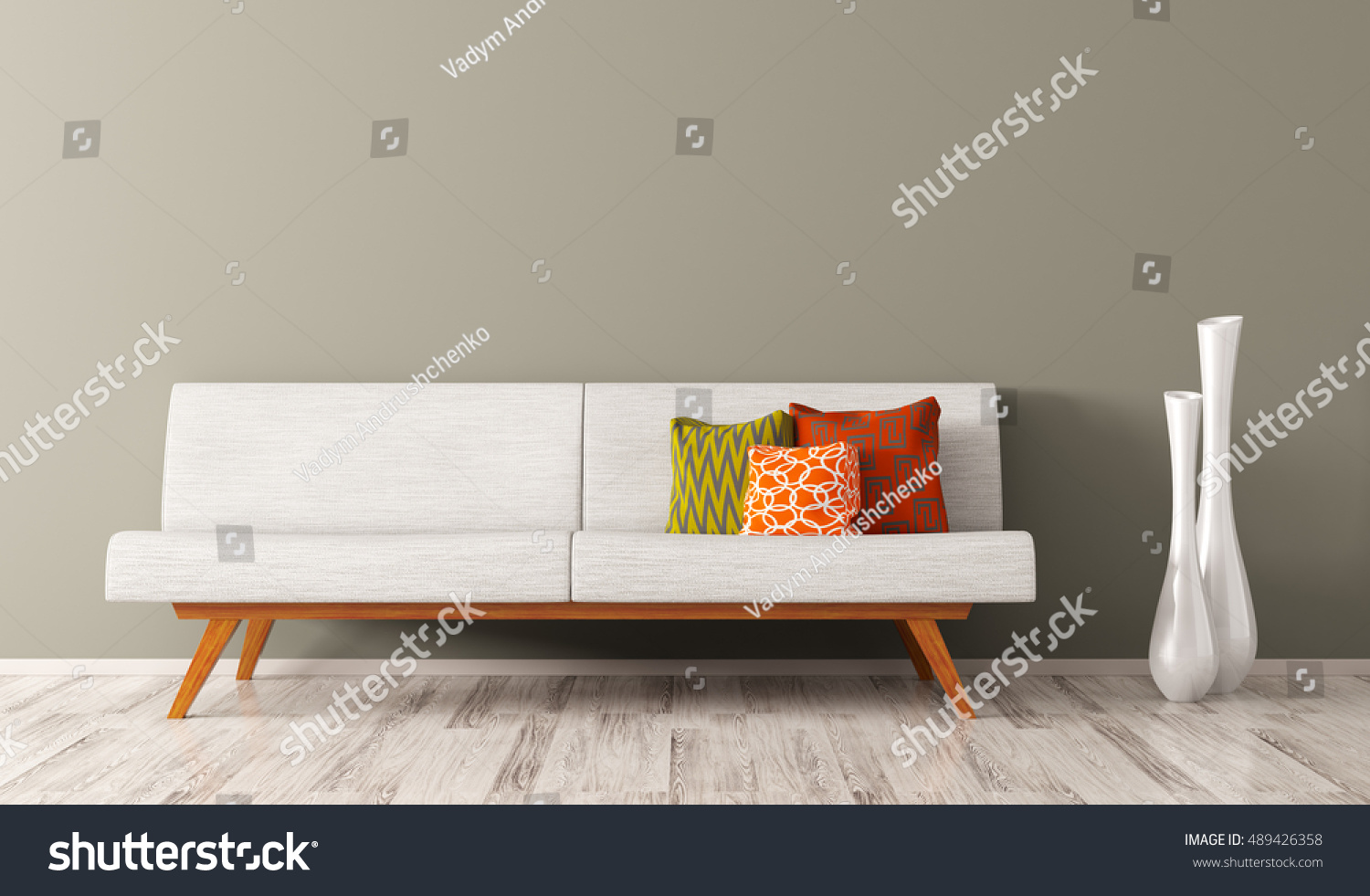 Modern Interior Of Living Room With White Sofa, Vibrant Cushions And Two  Vases 3d Rendering Part 66