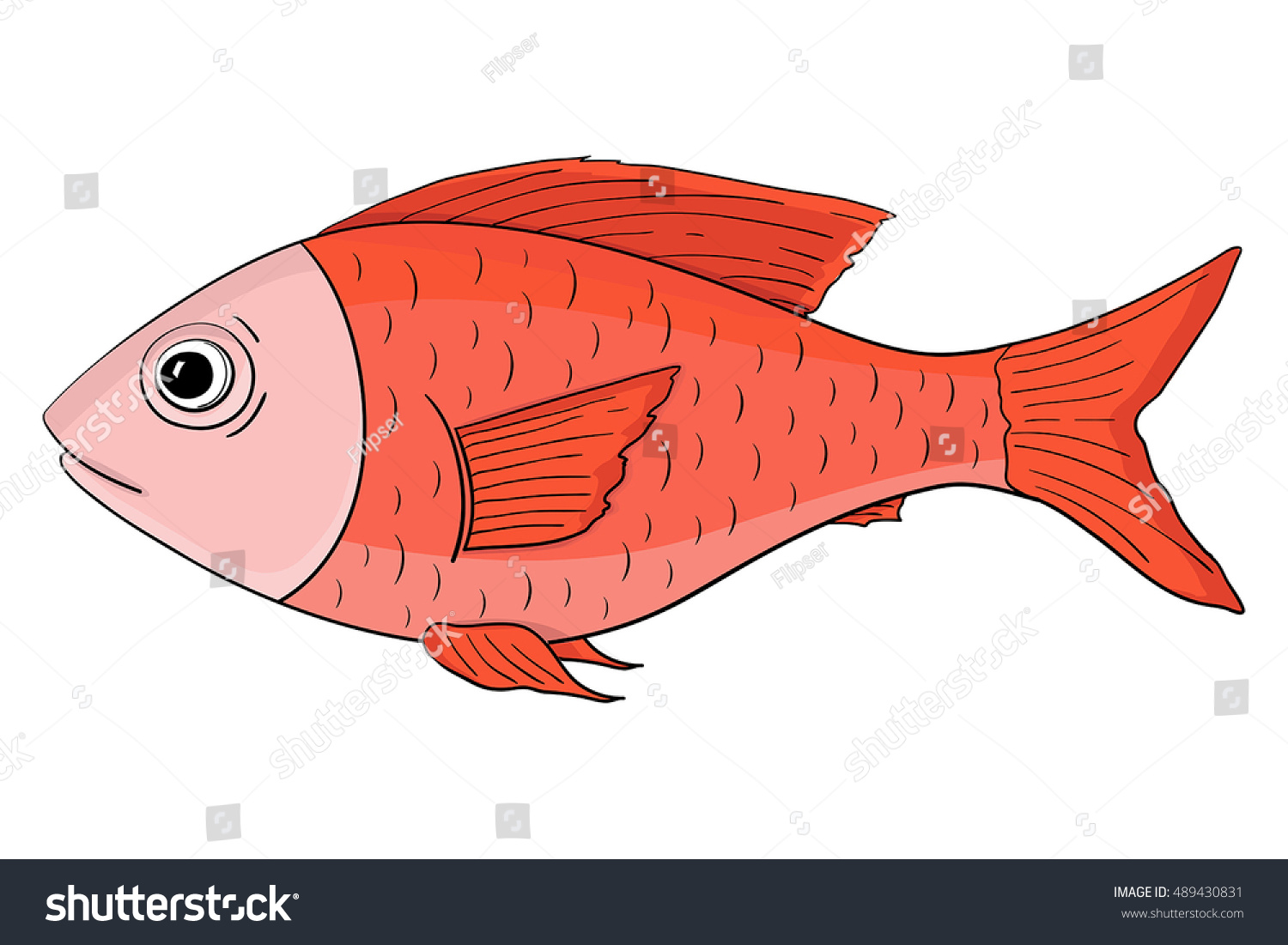 Red Fish Hand Drawn Colored Sketch Stock Vector HD (Royalty Free ...