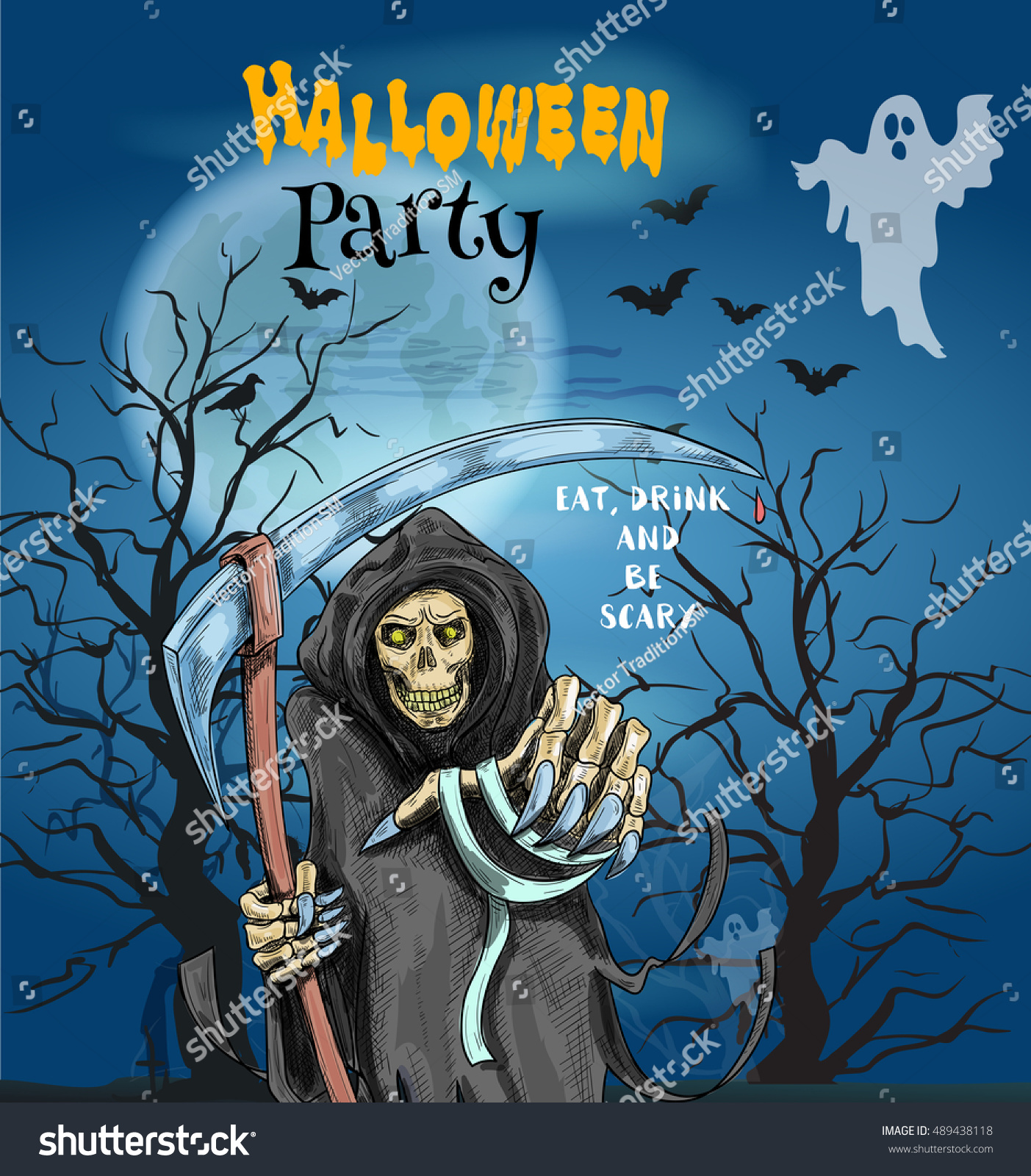 Halloween Party Invitation Card Poster Text Stock Vector 489438118 ...