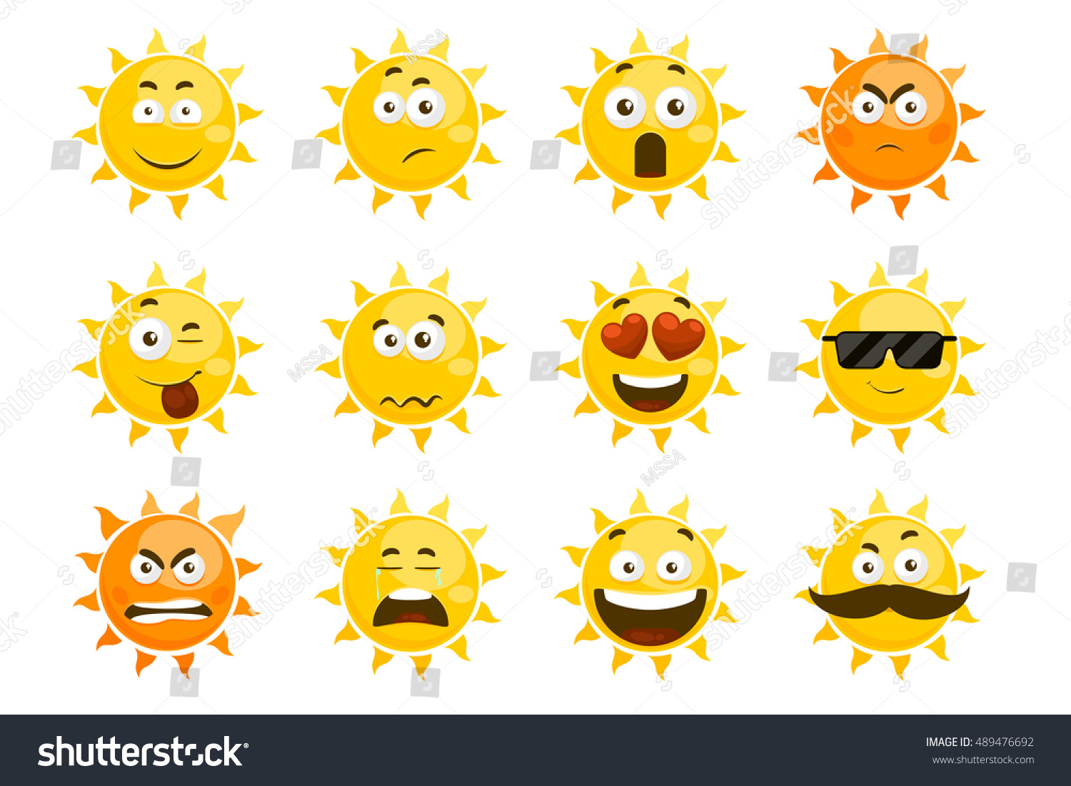 Smiling sun images - Smiling Sun Emoticons Vector Cartoon Smile Sun Set Cartoon Face Sun Illustration