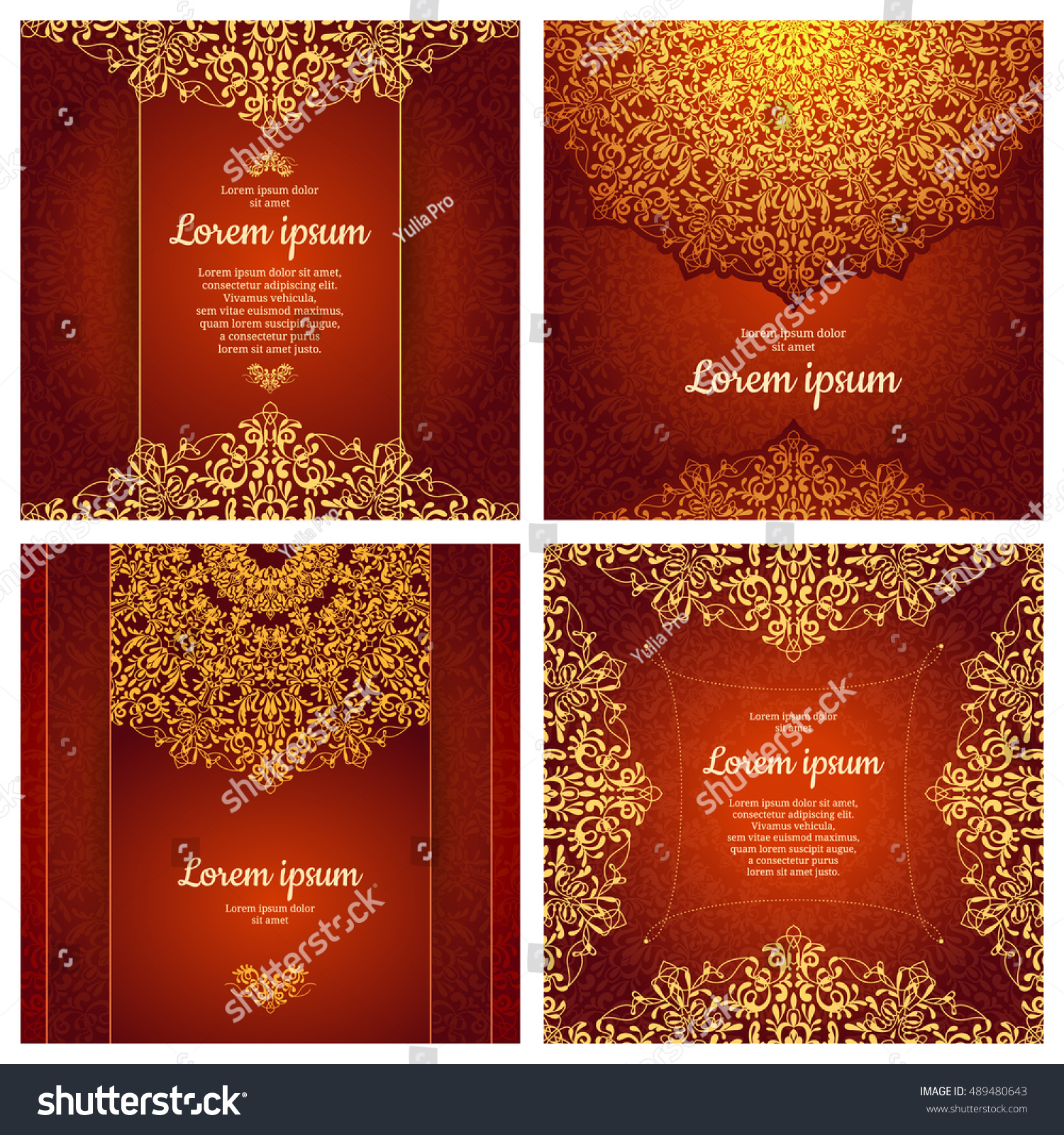 Set Luxury Artistic Pages Set Logo Vector 489480643 – Retro Brochure Template
