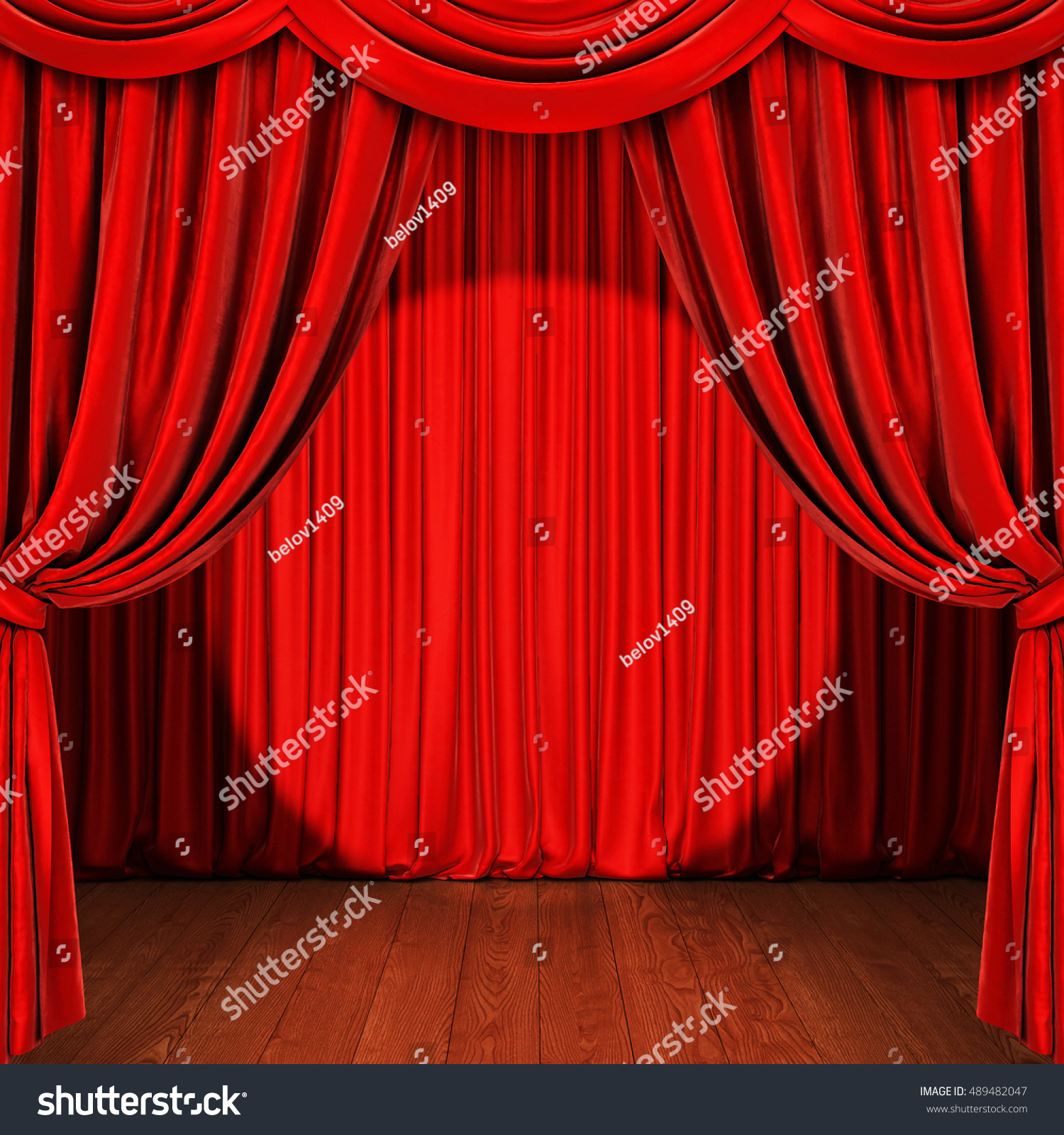 Red curtain spotlight - Stage With Red Curtain Wooden Floor And Spotlight 3d Rendering
