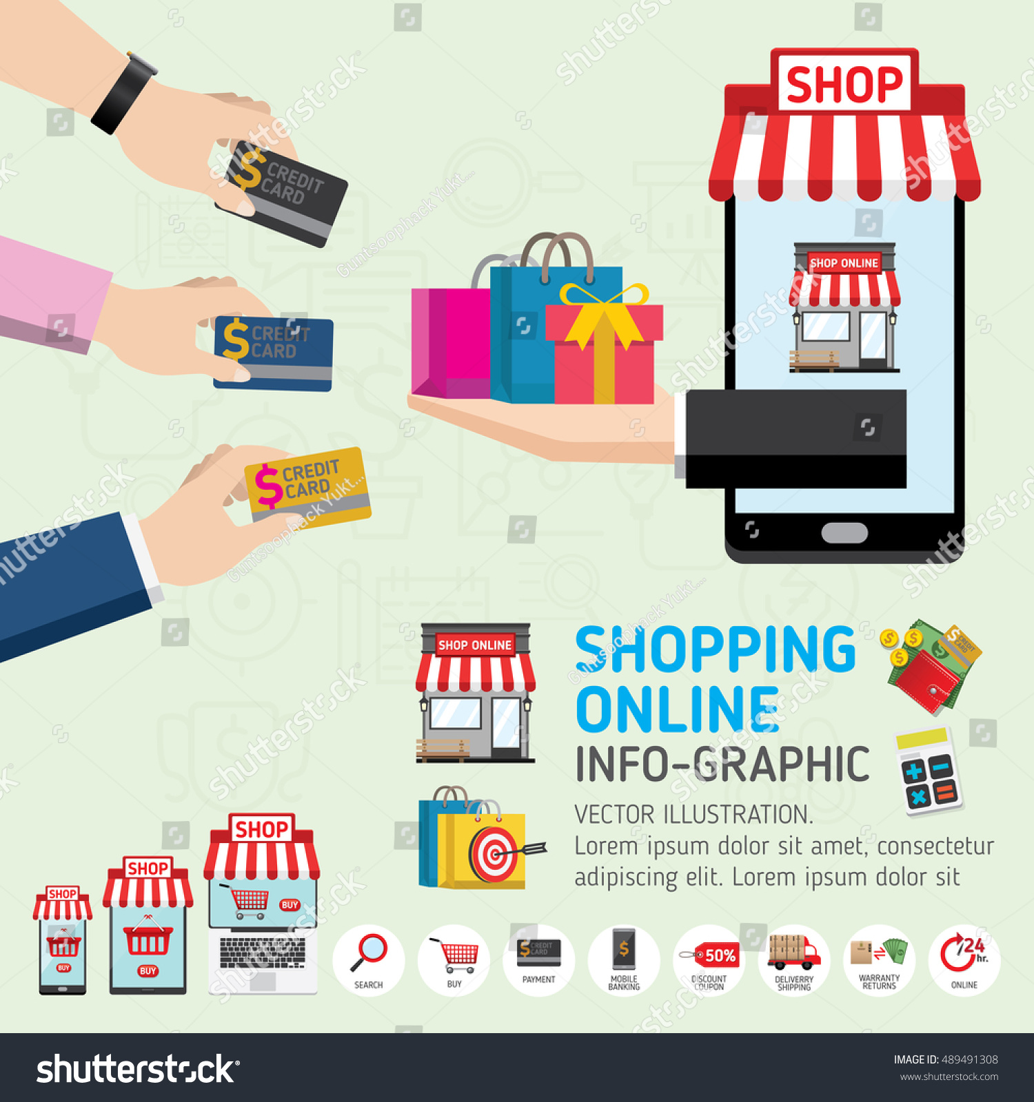 Online shopping concept mobile payments vector stock for Shopping online mobili