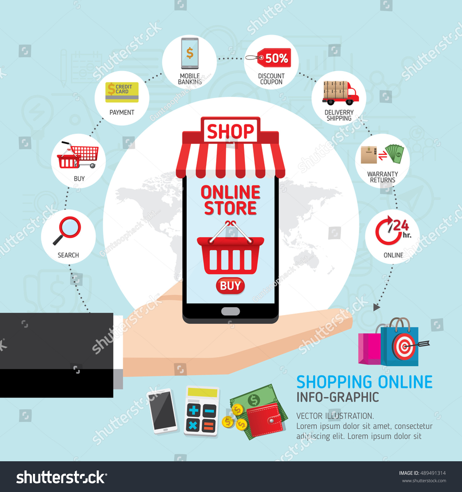 Online shopping concept hand holding smartphone stock for Shopping online mobili