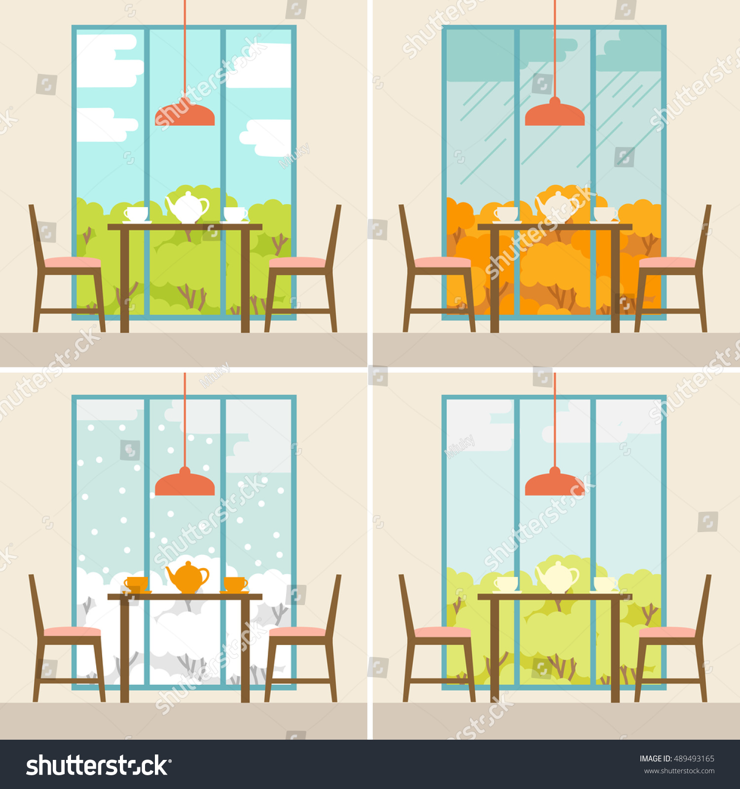 Vector Illustration Of The Dining Room In The Summer, Autumn, Winter, Spring