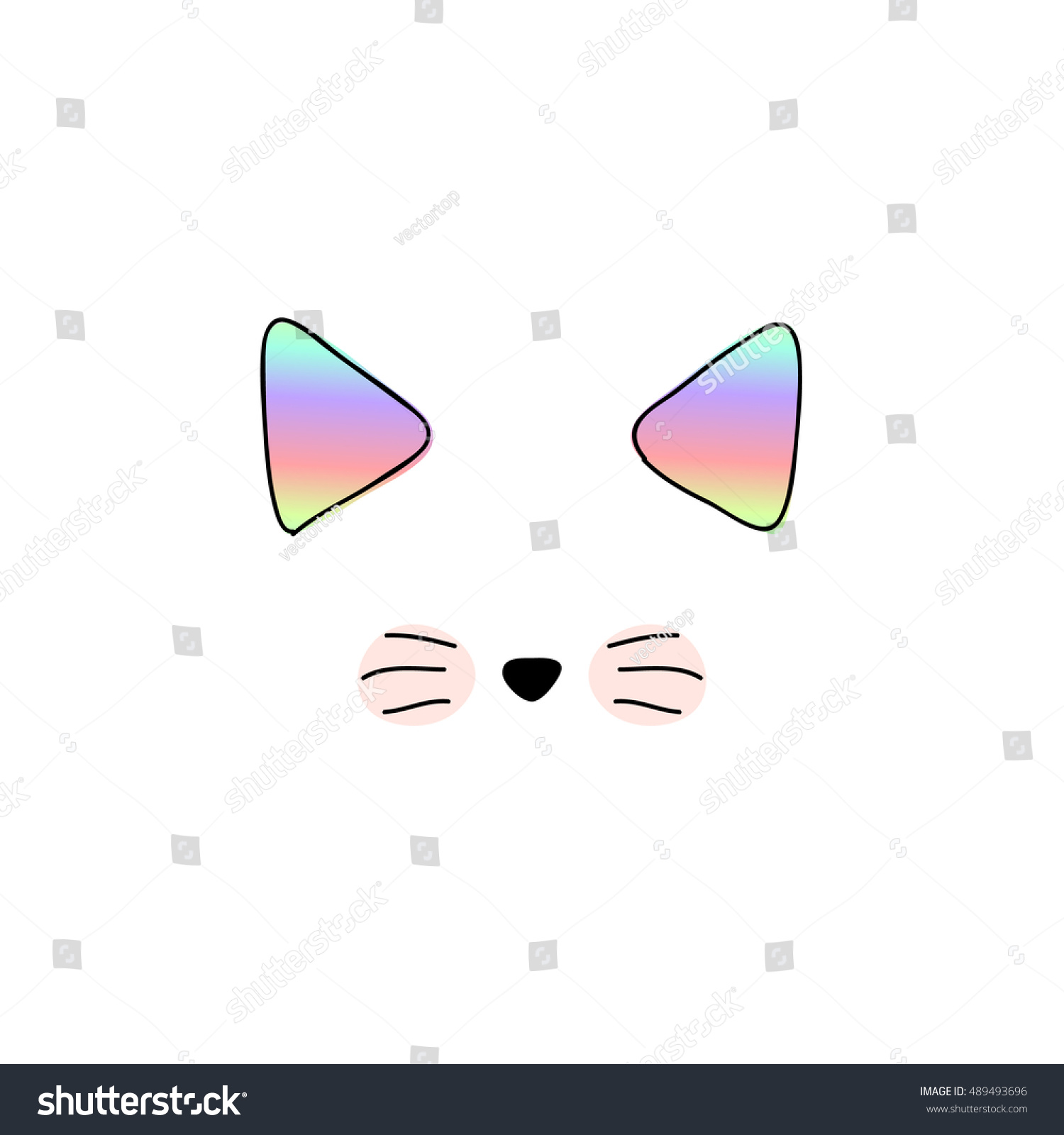 cat isolated cute doodle cats vector stock vector 489493696