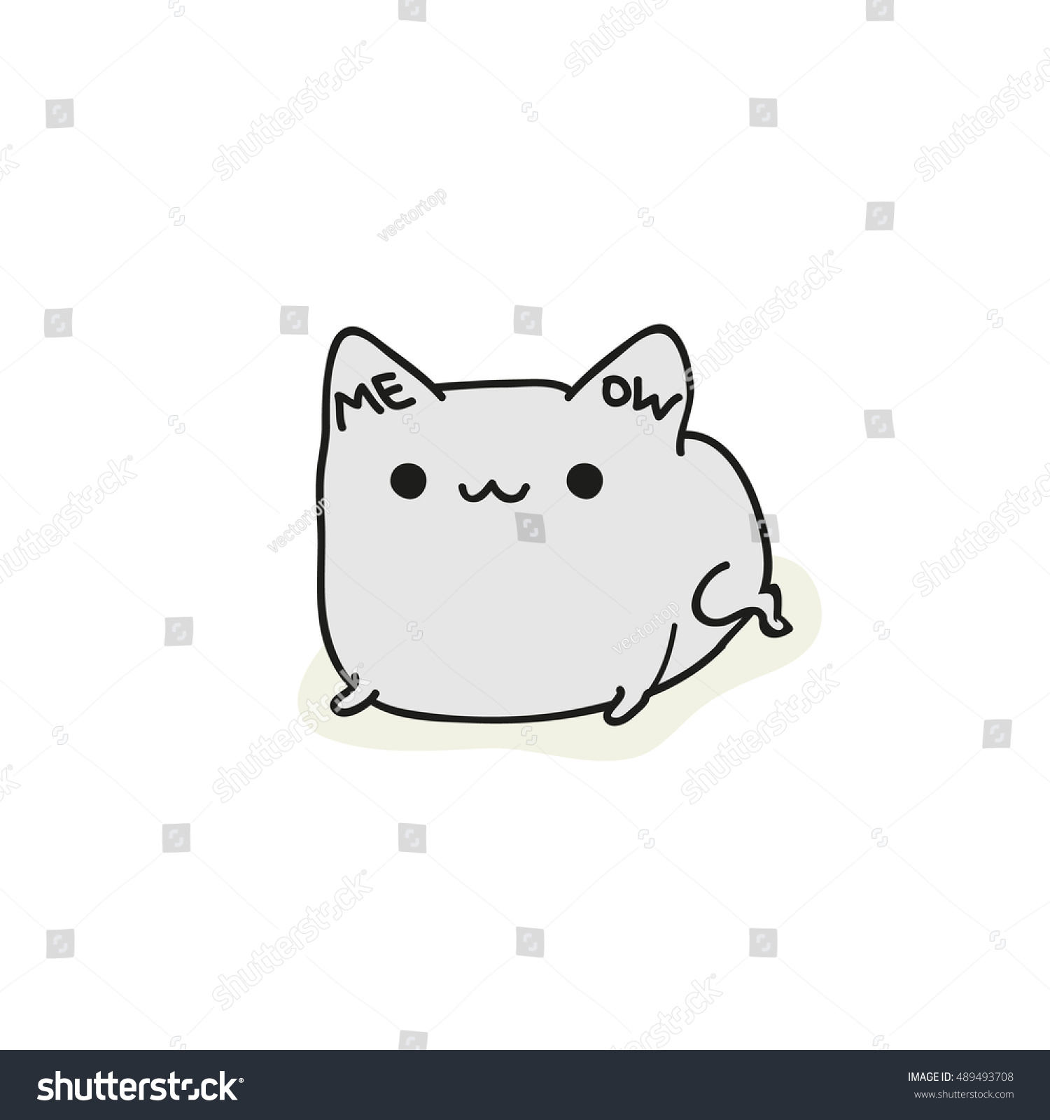 cats isolated cute doodle cat vector stock vector 489493708