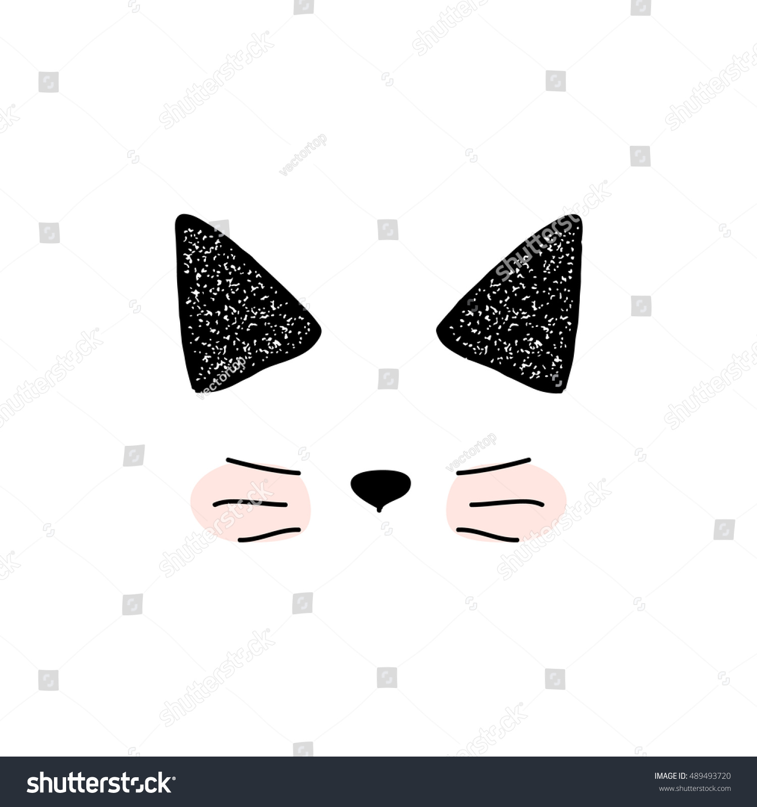 cats isolated cute doodle cat vector stock vector 489493720