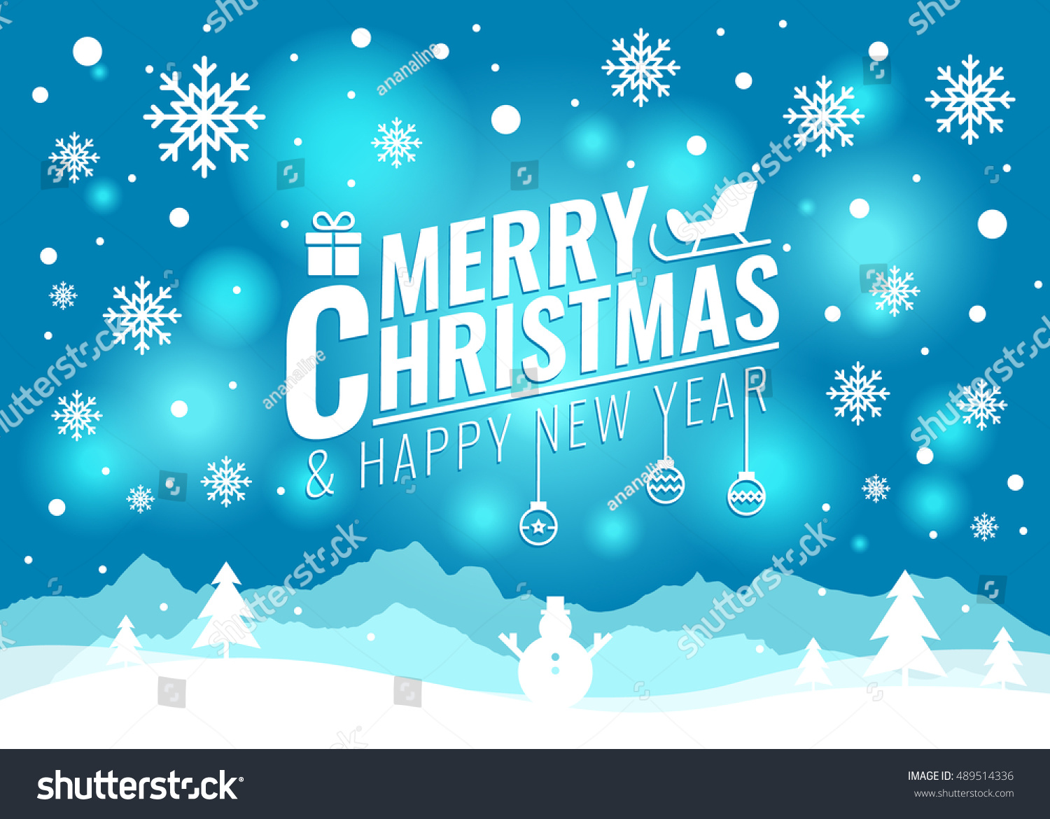Merry christmas happy new year card stock vector 489514336 merry christmas and happy new year card christmas tree and snow snowman on blue light kristyandbryce Choice Image
