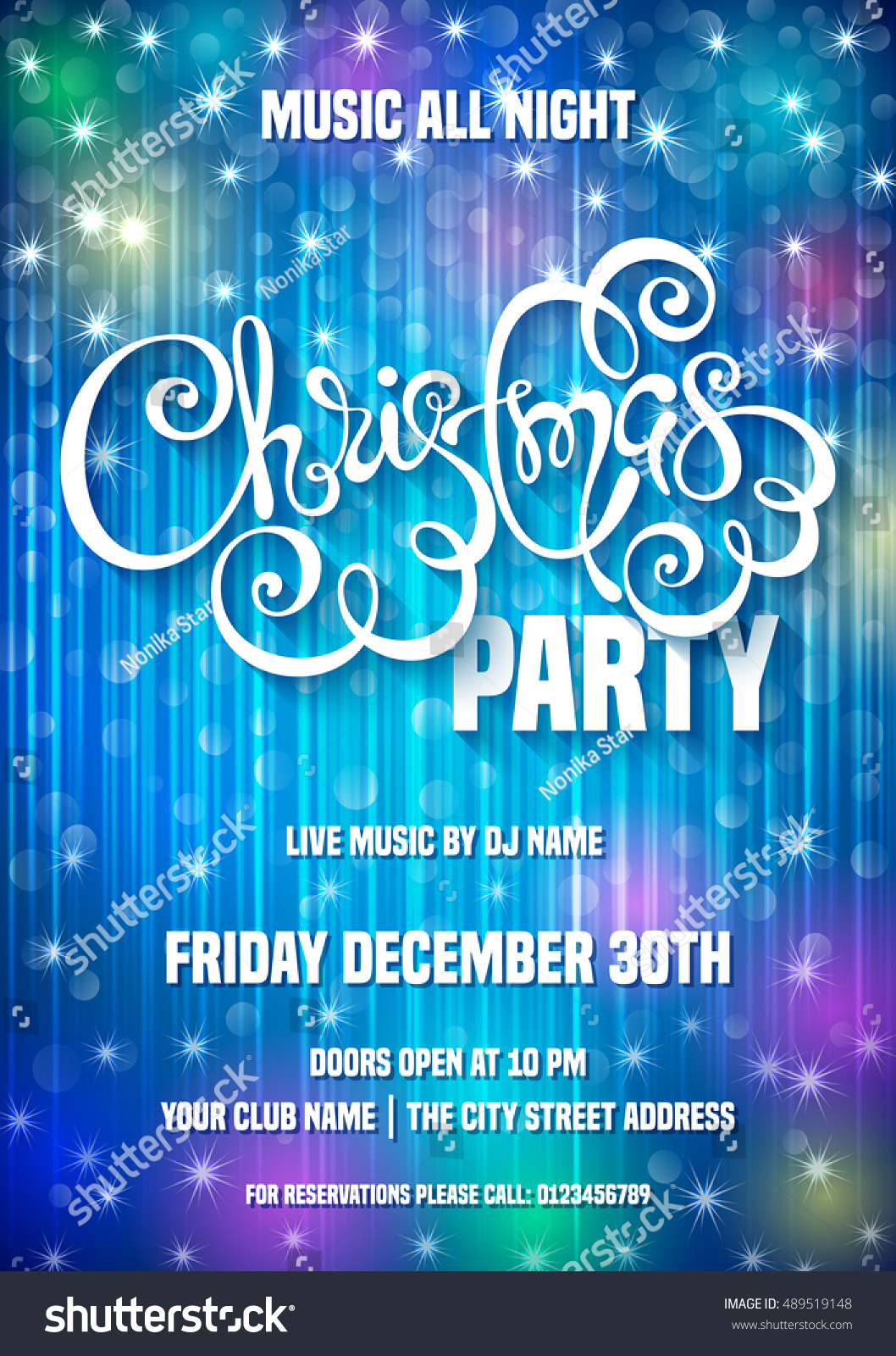Merry Christmas Party Poster Template Vector Stock Vector Royalty