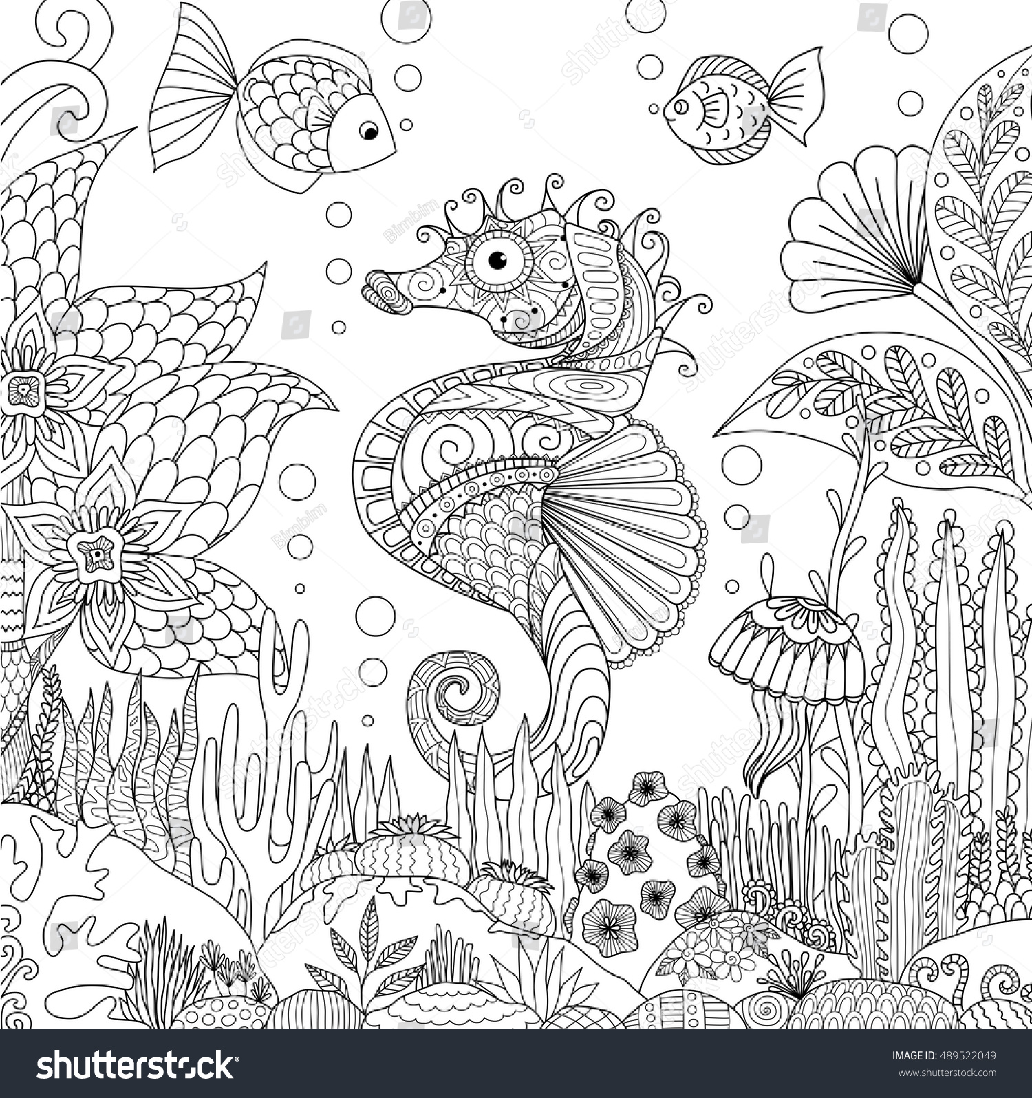 Zen ocean colouring book - Zendoodle Design Of Seahorse Swimming Under Ocean Surrounding By Beautiful Corals And Seaweeds For Adult