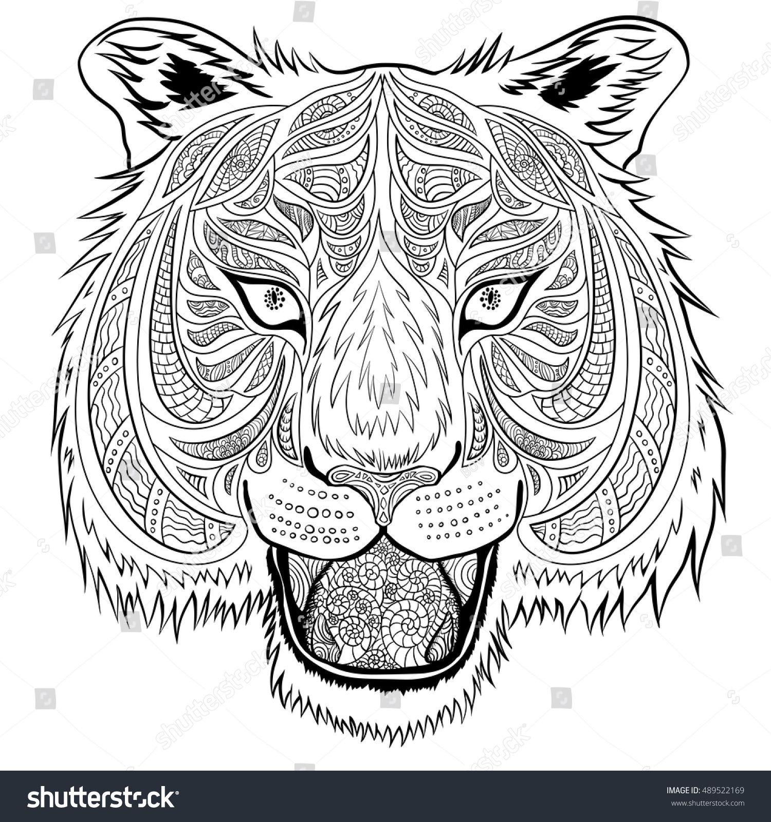 Tiger Head Hand Drawn Doodle Style It Can Be Used For Adult Coloring Book