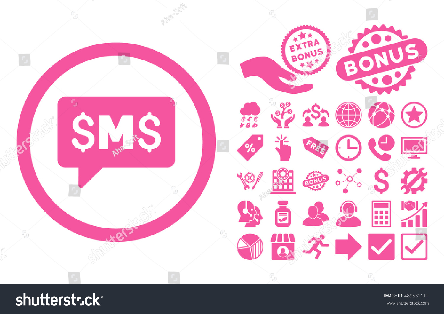 Sms message pictograph bonus pictures vector stock vector sms message pictograph with bonus pictures vector illustration style is flat iconic symbols pink biocorpaavc Images